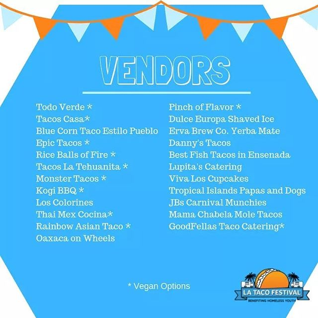 We are excited to announce our full line-up of Taco, Drink and Dessert Vendors! Check them all out this Saturday at the LA Taco Festival!  Admission is free! Entrance opens at 12 pm. #latacofestival #grandparkla #tacotrucks