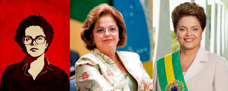 A coração valente e a presidente repaginada. Ao centro, a pouco lembrada, e bem mais real, Dilma das Minas e Energia.