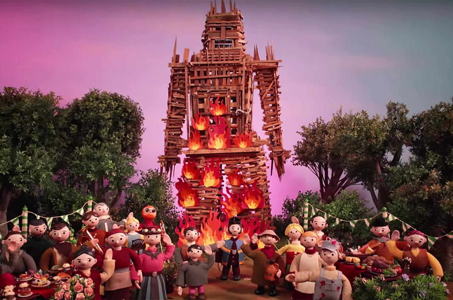"""Imagem do videoclipe de """"Burn the Witch"""", canção do Radiohead"""