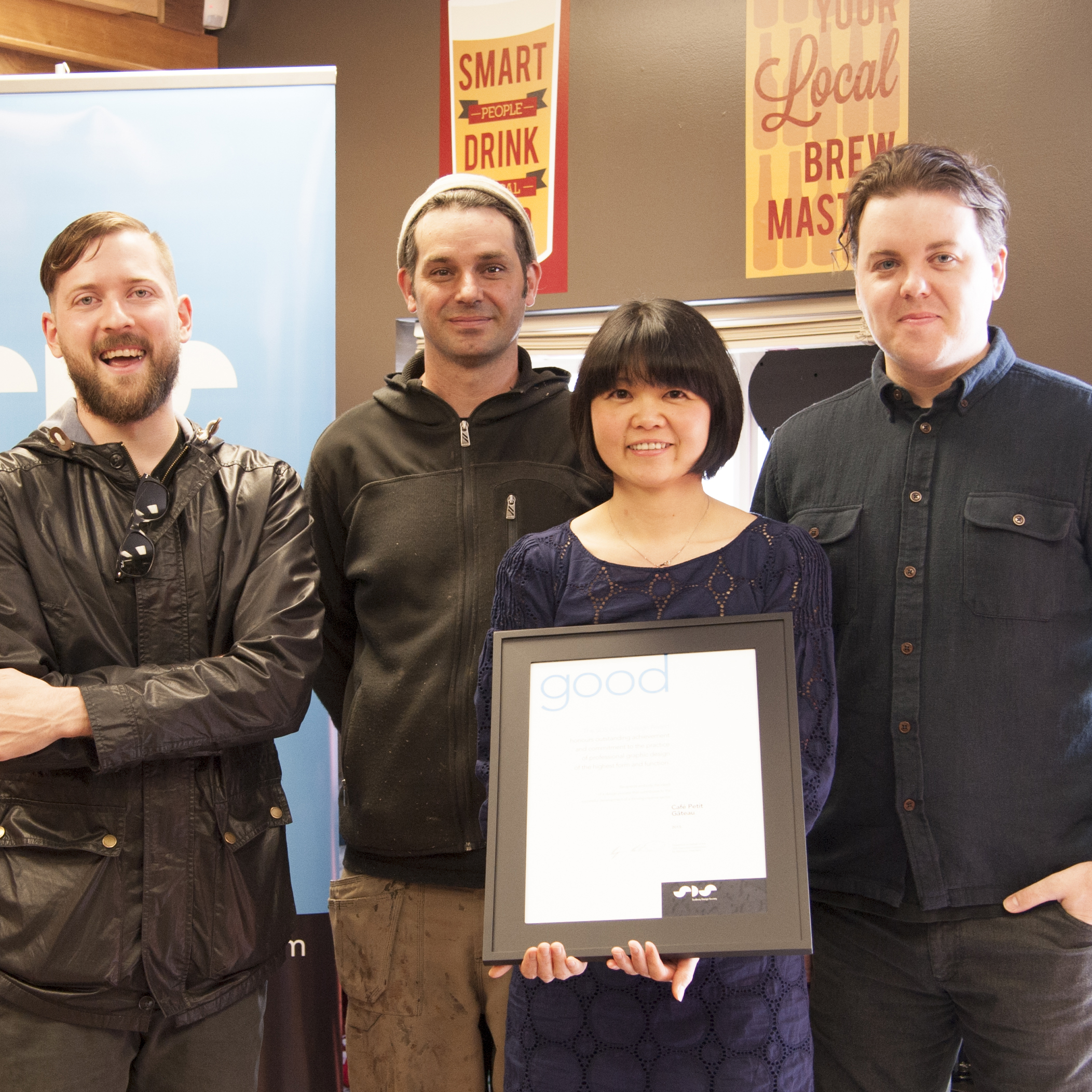 (left to right) Designer Frank Chatrand of Bureau, carpenter Matthew Schultze, and owners Yoshi Kurogi & Derek Brisson.