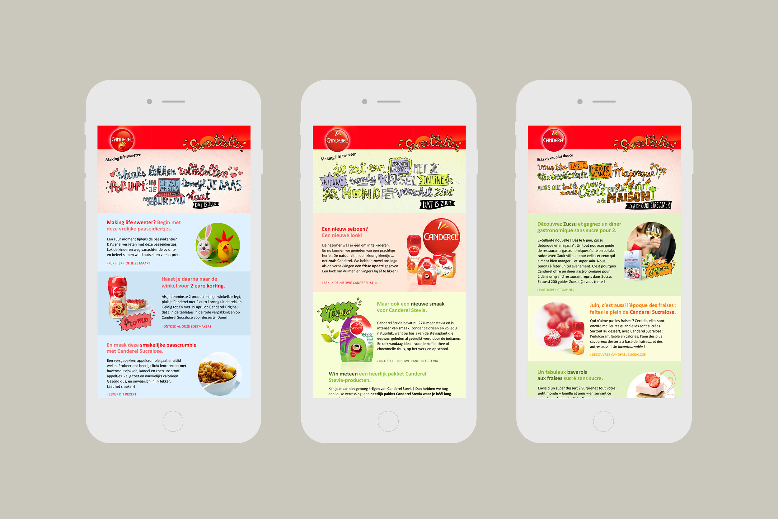 Canderel Making Life Sweeter newsletters on mobile device