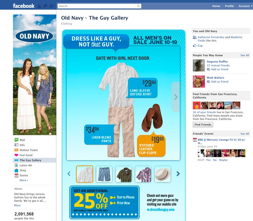 Facebook Hub: Gallery occasion showcase and coupon