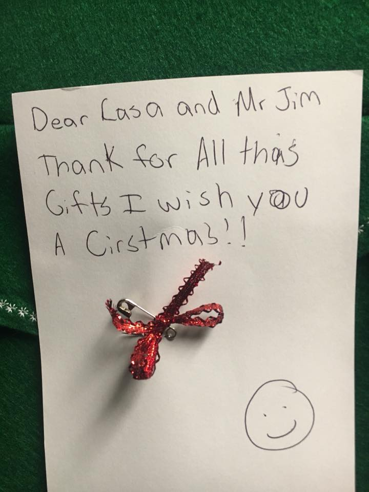 A thank you card from a CASA child.