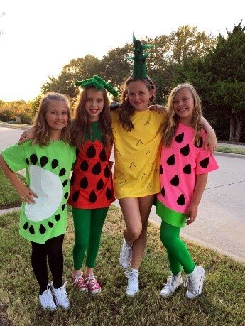 Fruit costumes, courtesy of Pin This