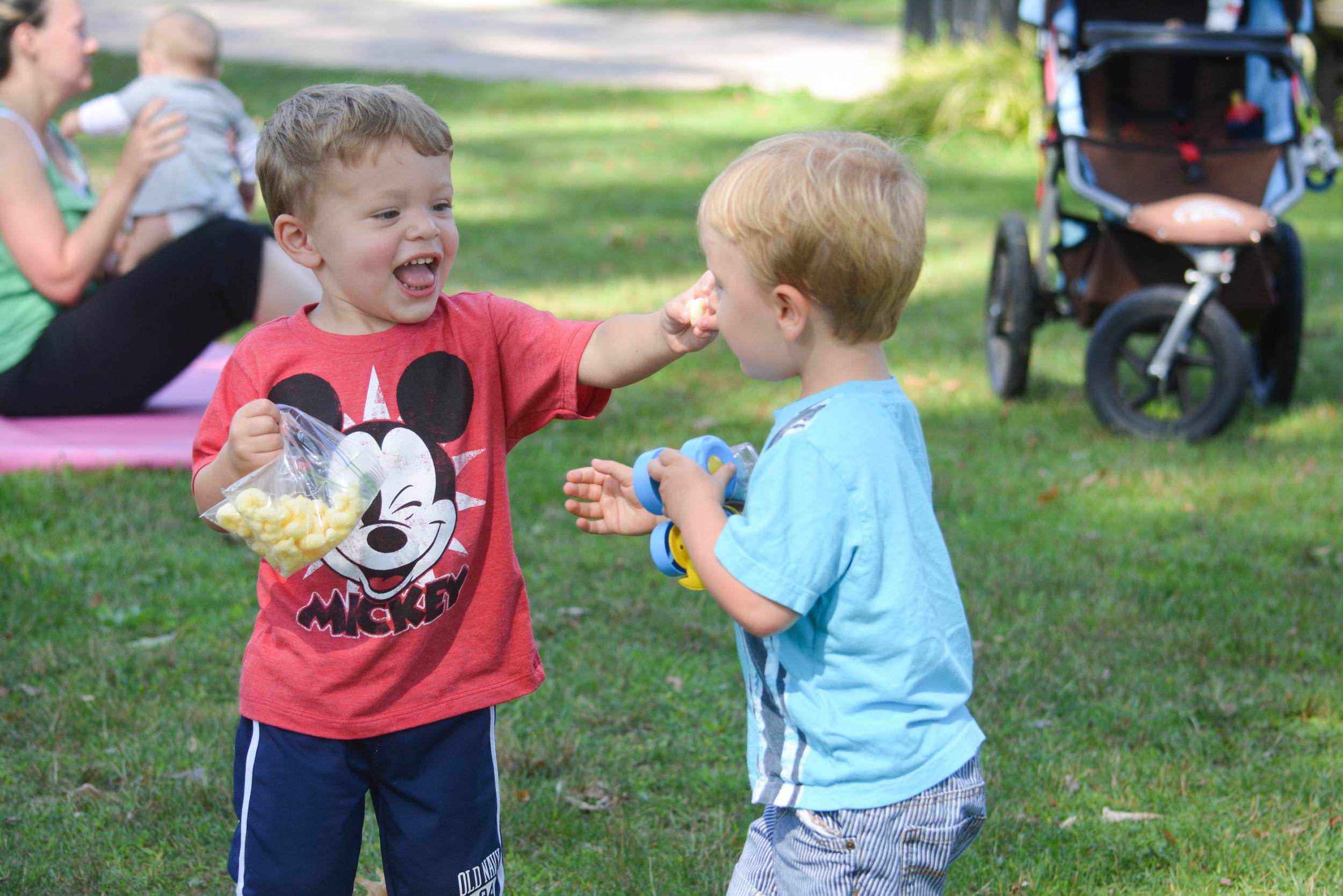 These boys became friends after coming with their mothers to the Stroller Strides classes. If you ask each who his best friend is, he will name the other.
