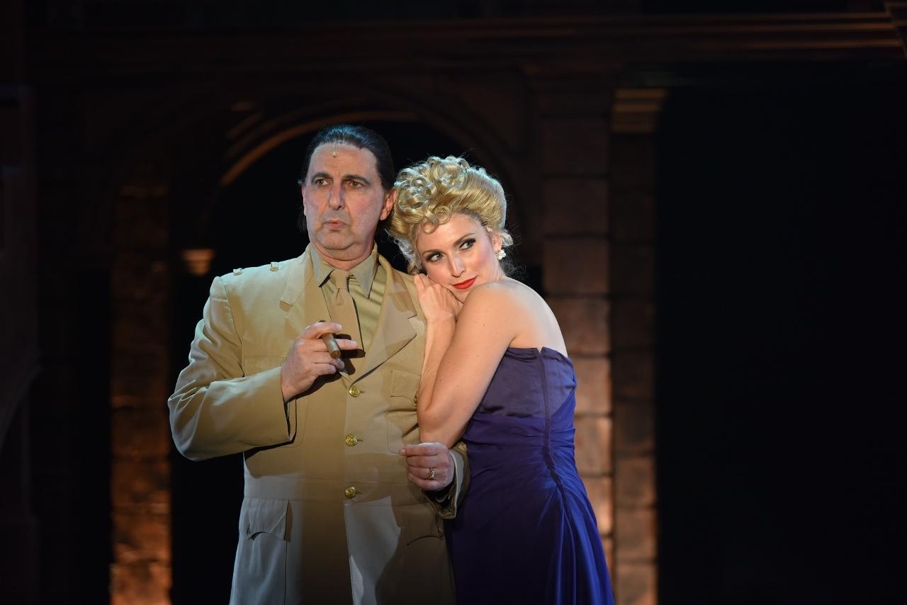 Bruce Winnat as President Juan Peron, and Janine Divita in the title role of Evita Peron.