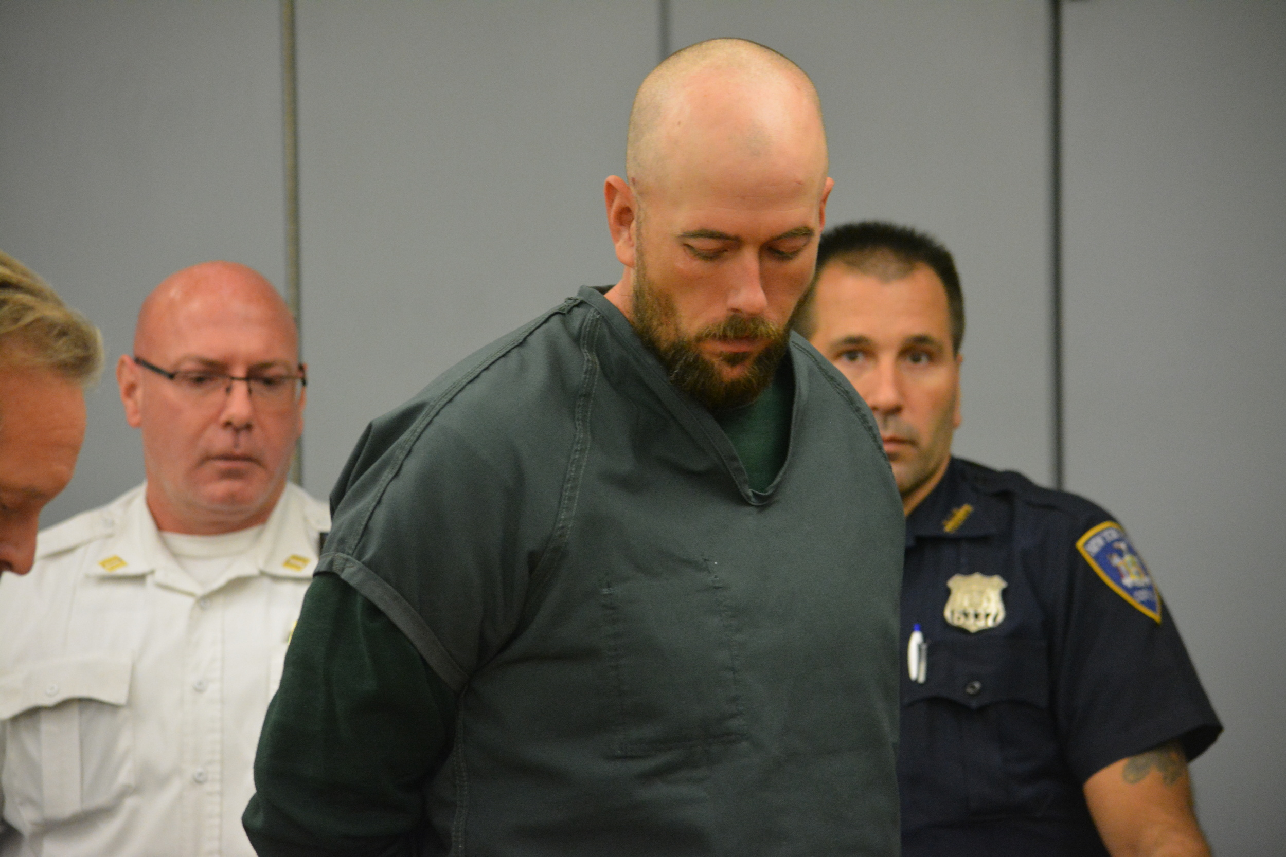 Chad Morizsan of Northport, seconds before his arraignment on Oct. 7.