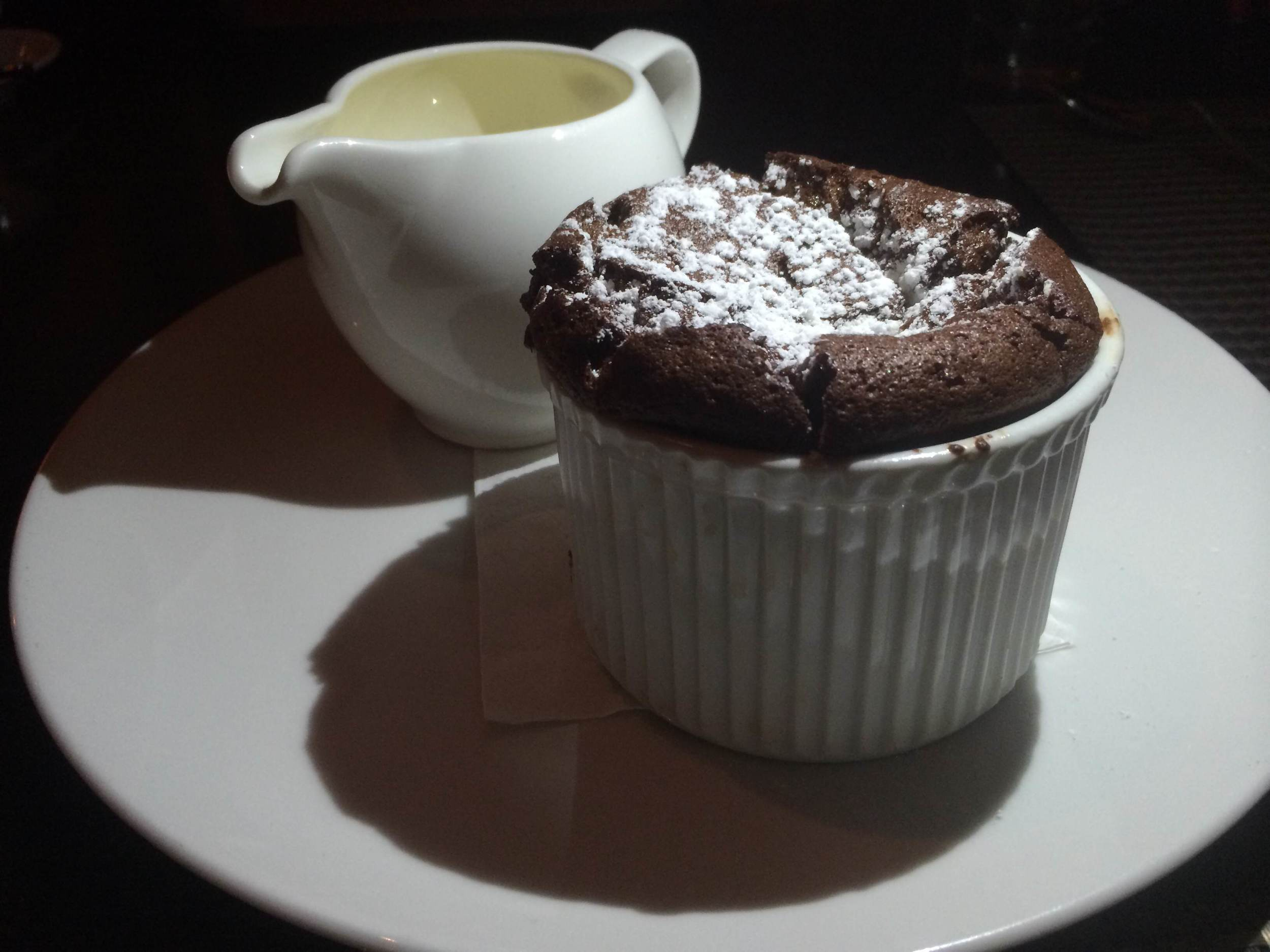 The Porto Vivo Chocolate Souffle is rich and delicious.