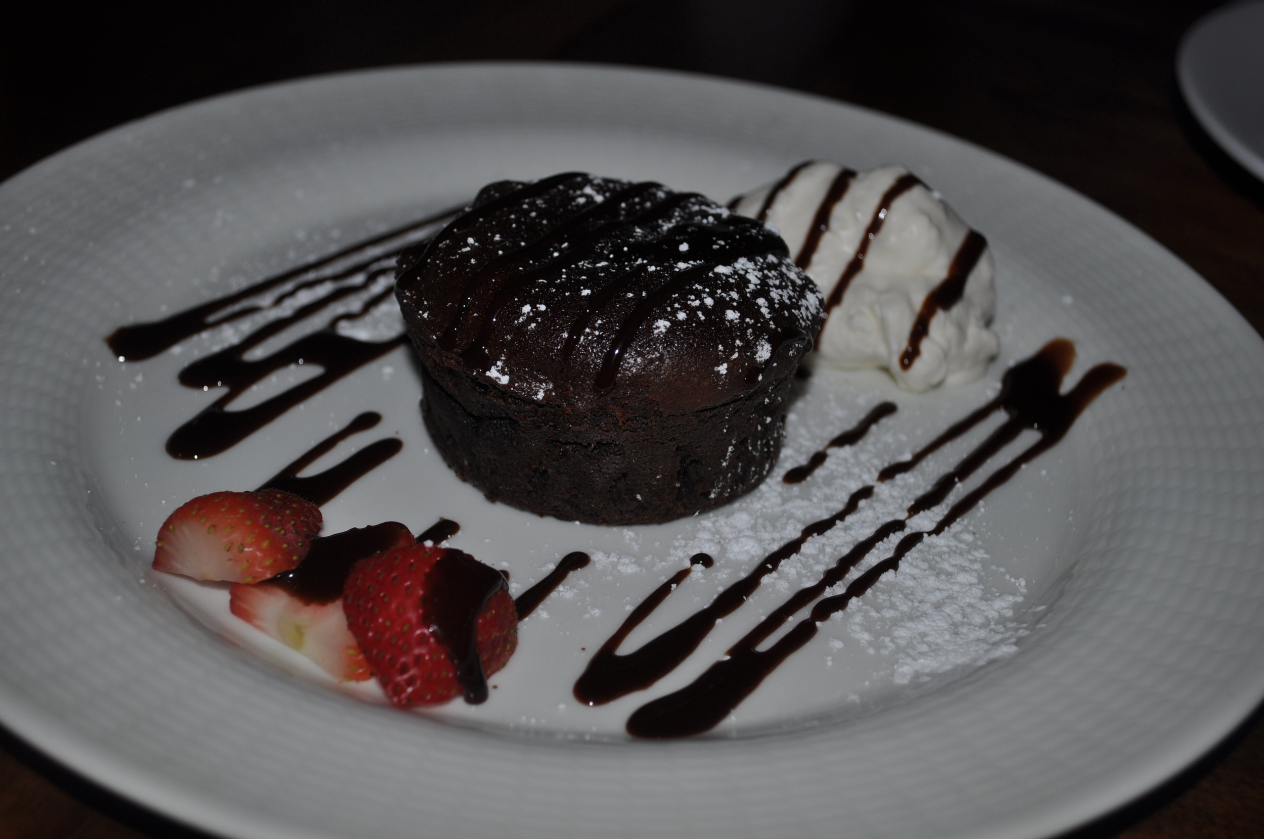 Gooey lava cake goes more for cocoa richness than sweetness.
