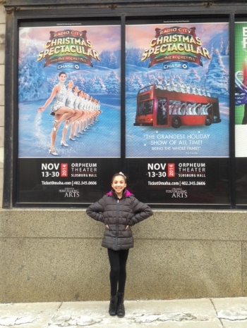 Sarah Gavilla, of Melville, poses for a picture in Omaha, Neb. where she's currently performing in the national tour of the Radio City Christmas Spectacular.