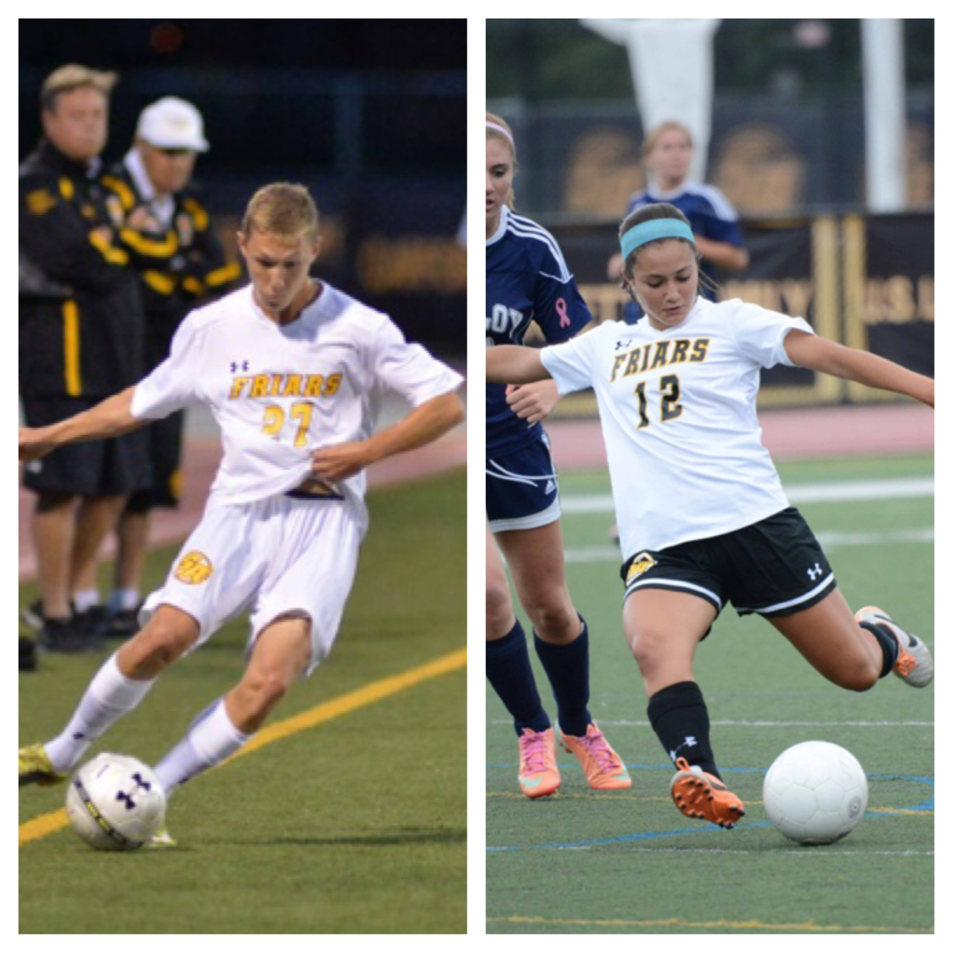 Chase Gurcan (left) controls the ball in a game earlier this season for St. Anthony's High School, while Francesca Venezia (right) scores one of the six goals to lead the Friars to a state championship on Nov. 10.