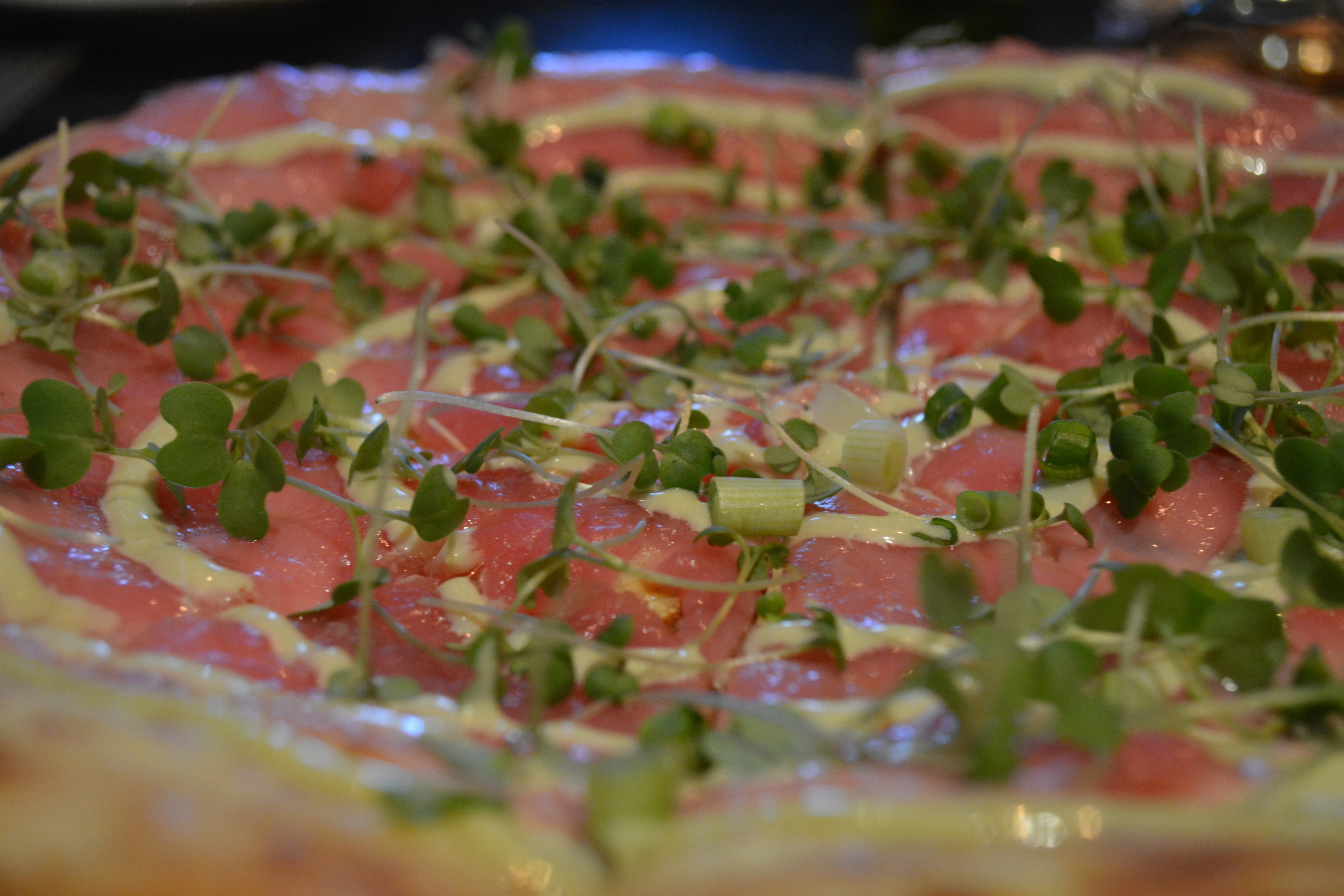 The Raw Tuna Pizza tasted fresh and flavorful.