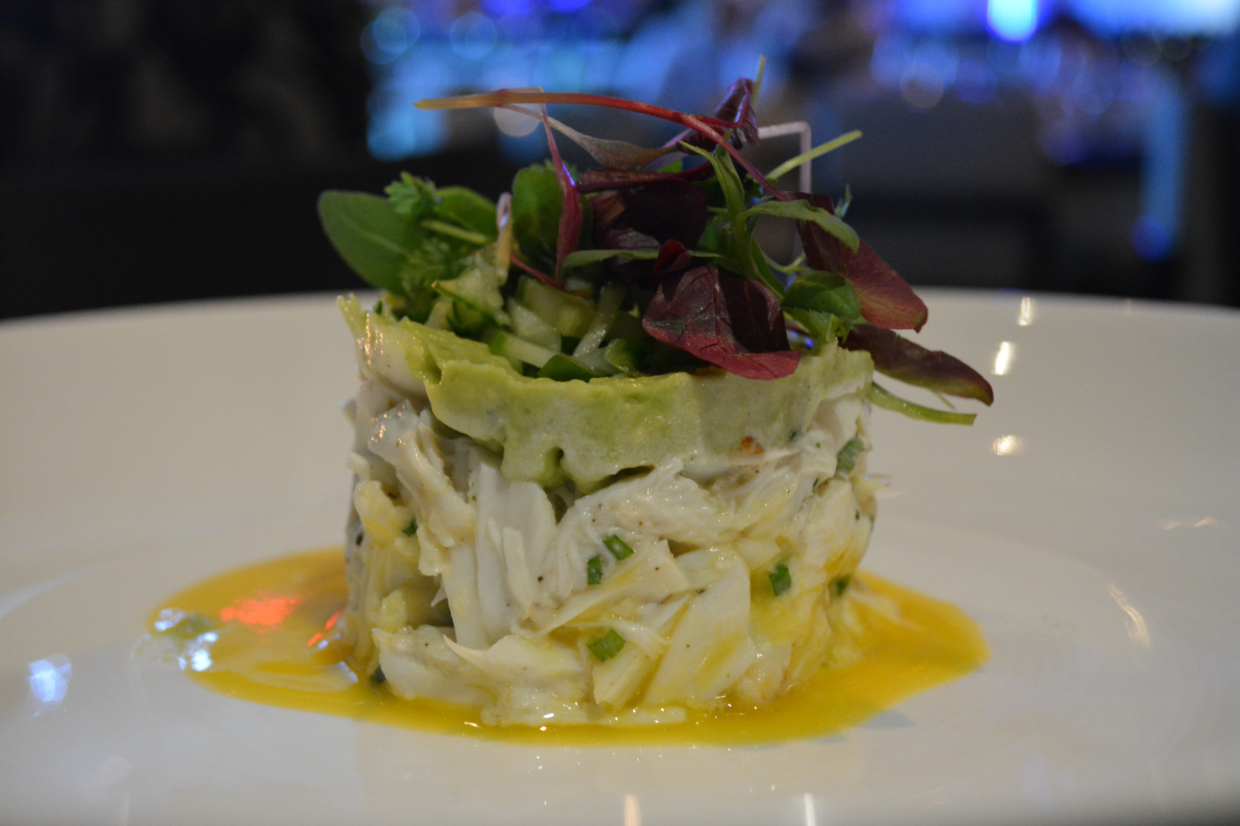 Found in the appetizer section of the menu is the crab salad.