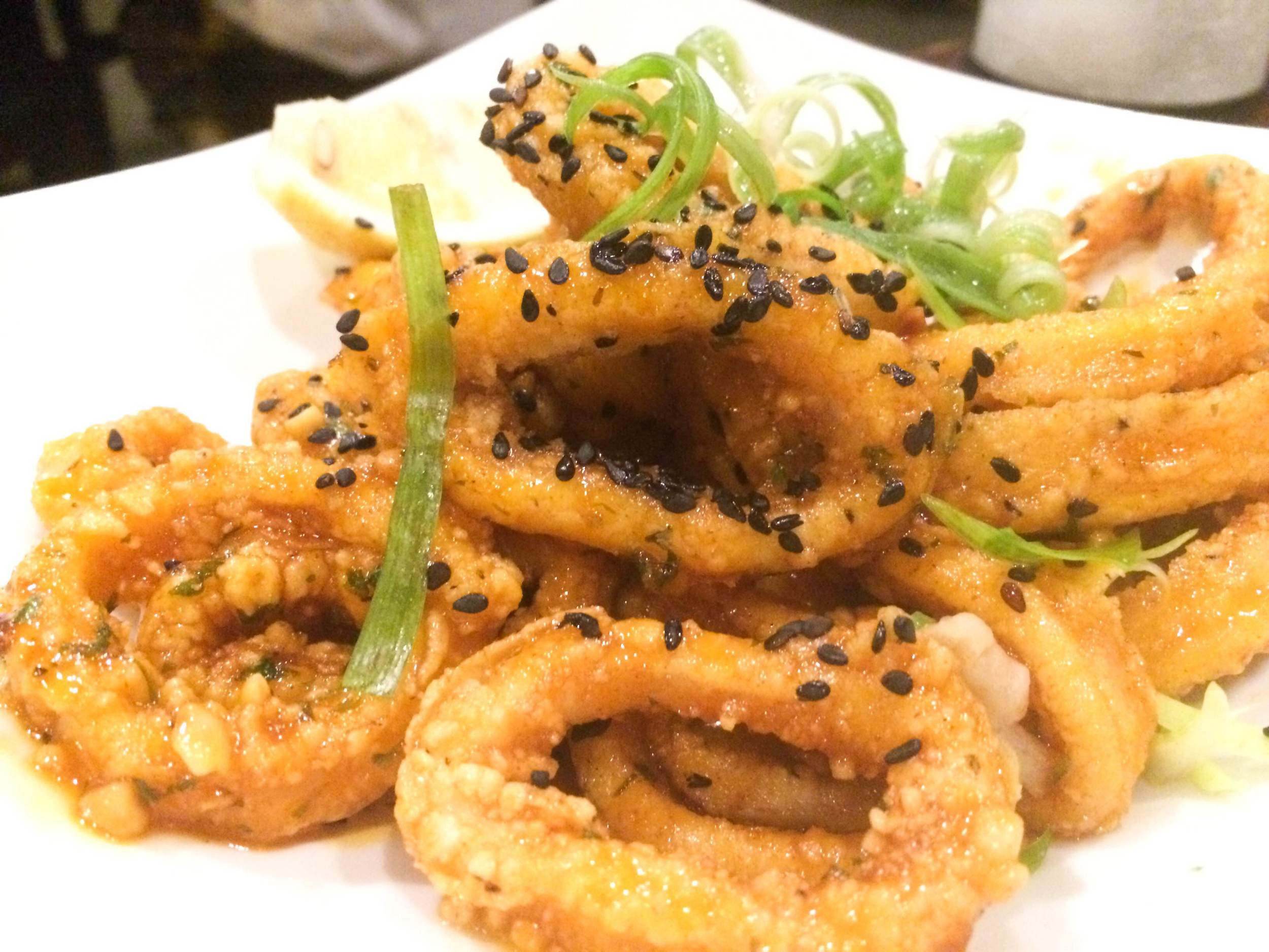 The Crispy Thai Style Calamari ($11) at Black & Blue Seafood Chophouse is enough to – momentarily, at least – make the hesitant squid eater an enthusiastic one. (Black & Blue Seafood Chophouse, 65 Wall Street, Huntington, 11743. 631-385-9255)  Long Islander News photo/ Arielle Dollinger