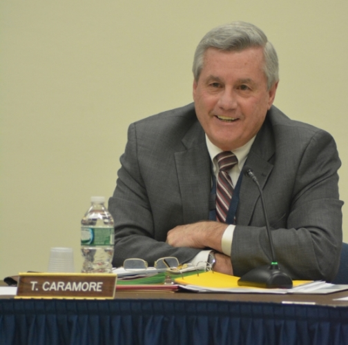 Thomas Caramore, interim superintendent of the Northport-East Northport School District, speaks during Monday's meeting of the board of education.