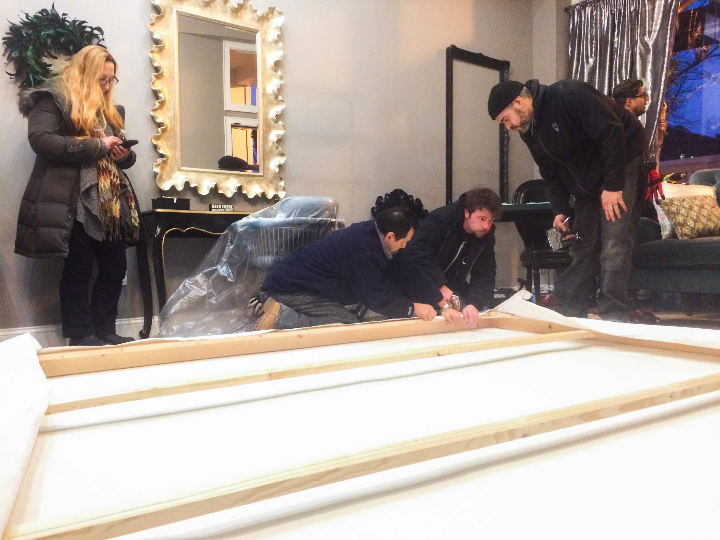 Set dressers worked last night to prepare Jon Megaris salon for its on-screen debut.