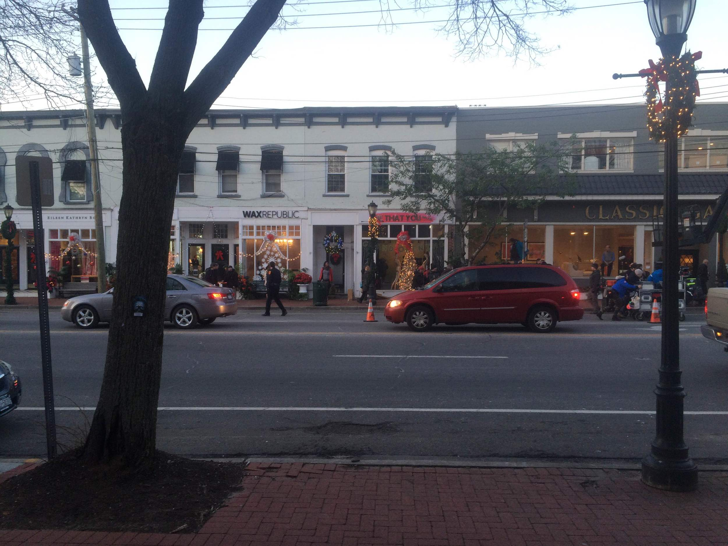 The view from across Main Street on the day of filming.