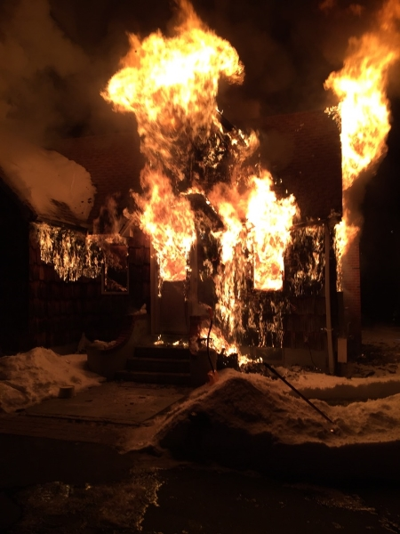 Volunteers fought this raging fire on Melrose Road in Dix Hills Saturday night. (Photo/Dix Hills Fire Department)