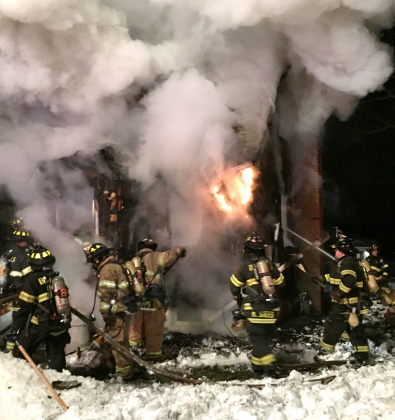 Bitter cold, snow and ice complicated the response. (  Photo/Dix Hills Fire Department)