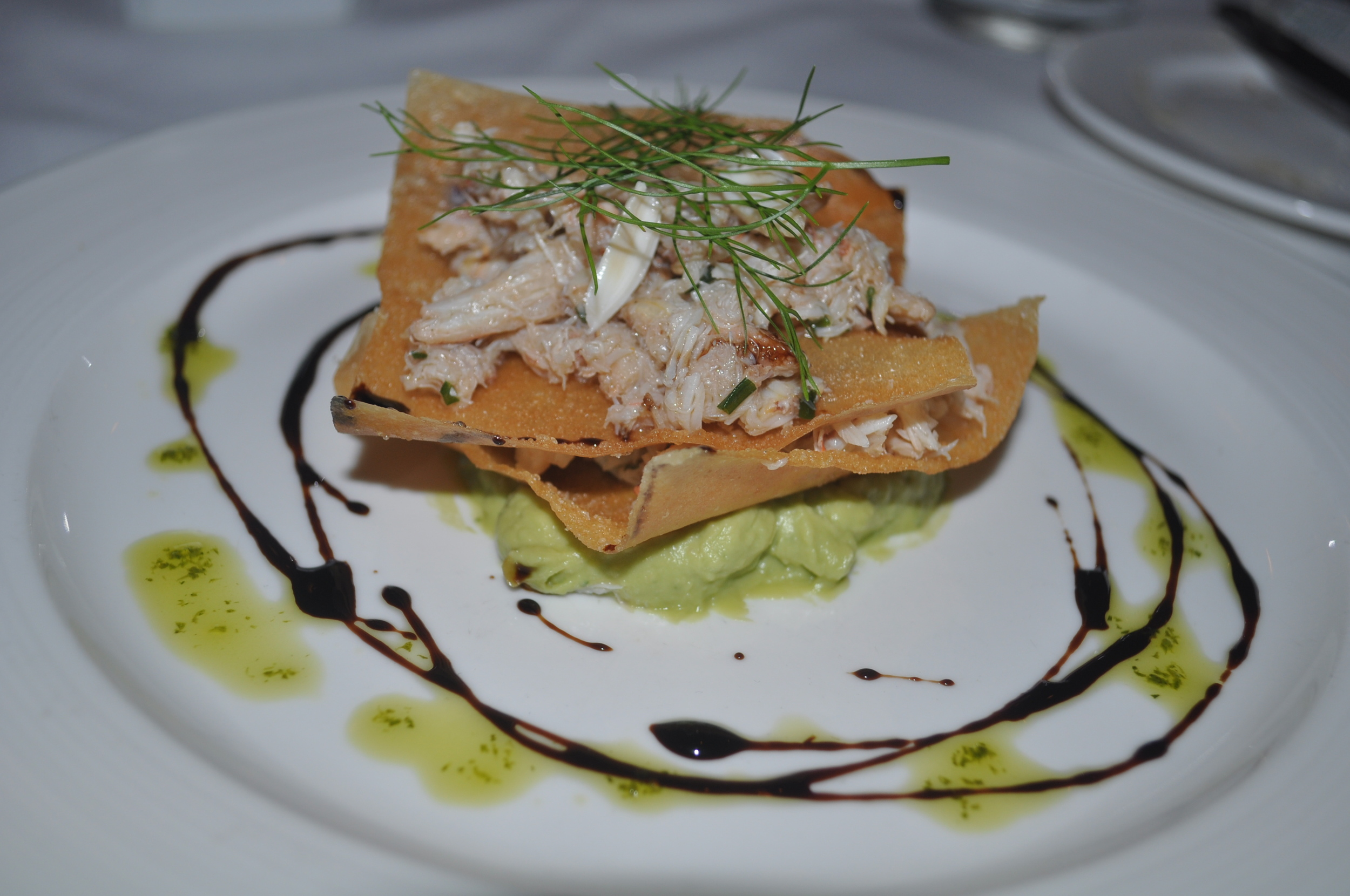 You've probably never had a Napoleon like this one, filled with crabmeat and avocado puree.