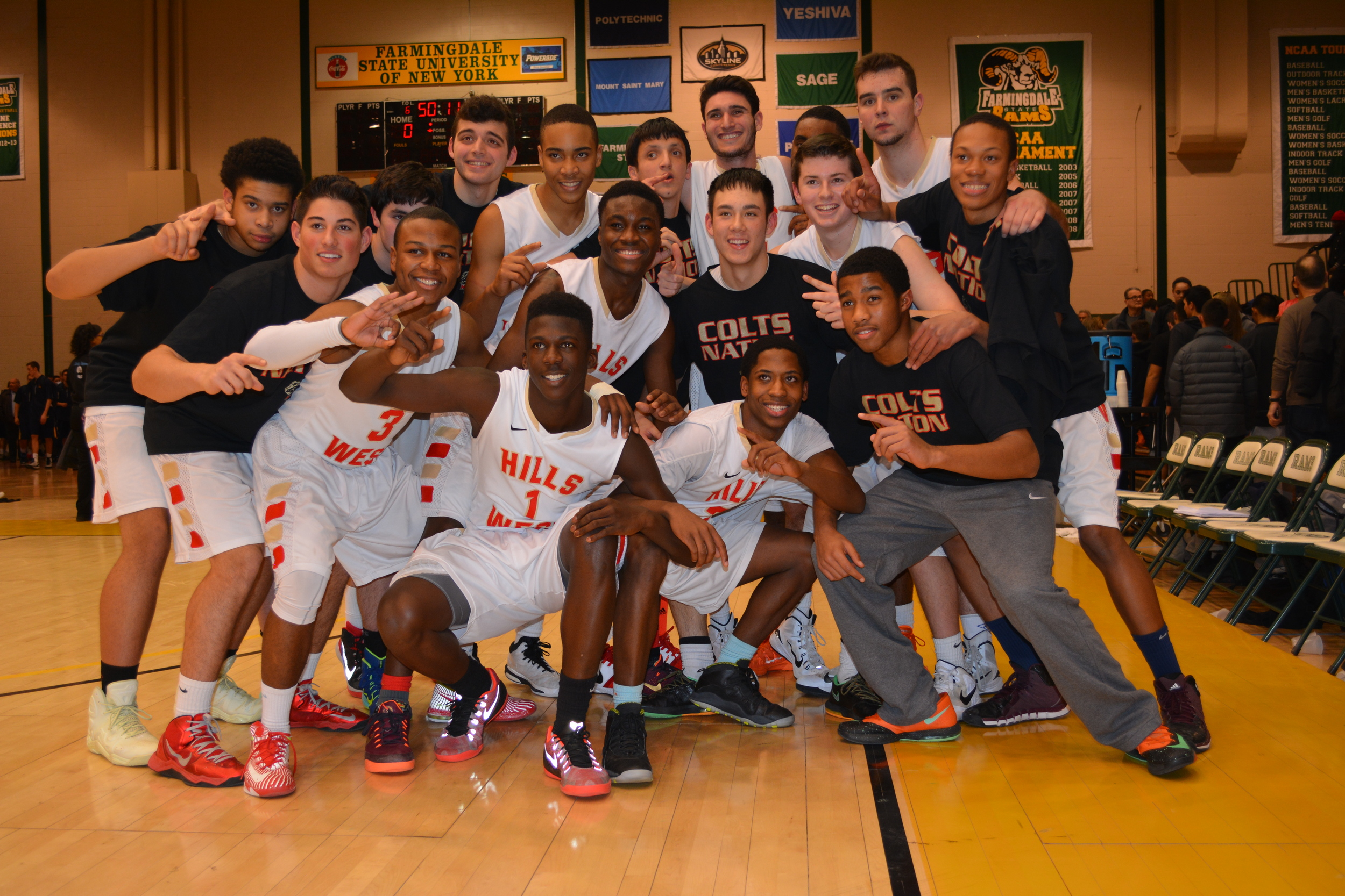 After advancing to the Suffolk championship game Wednesday night, the Colts pose for a picture.
