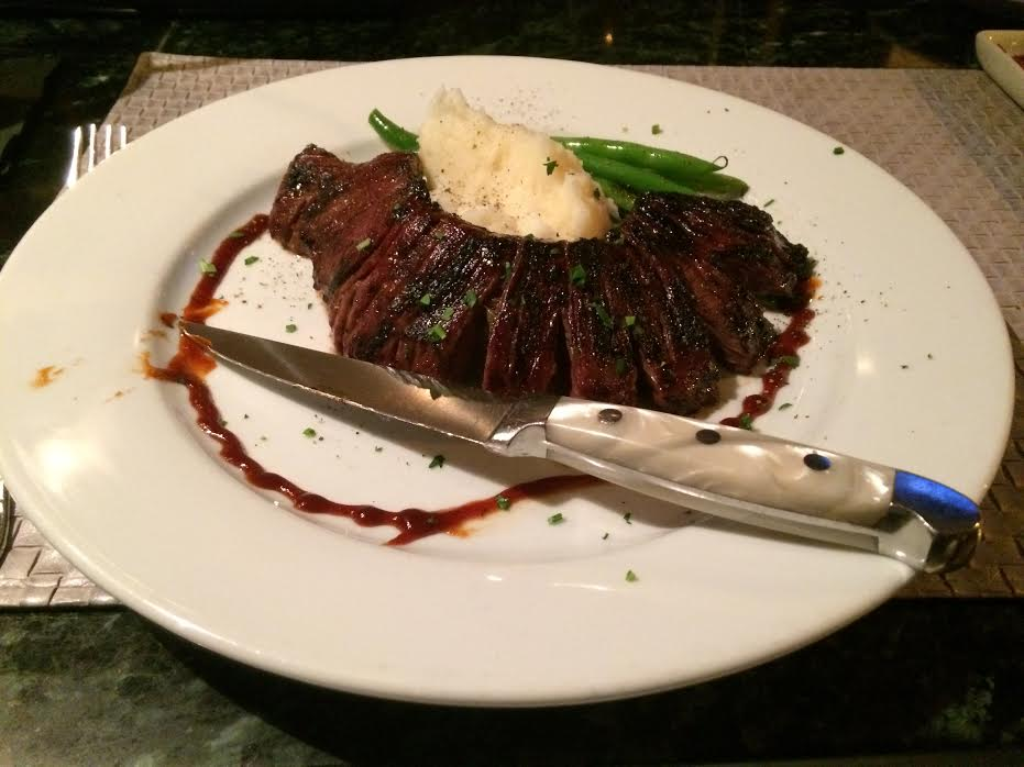Bistro 44 Marinated Skirt Steak – Cipollini onions, roasted garlic mashed potatoes, haricot vert and hoisin emulsion, was an early Dine Huntington favorite.