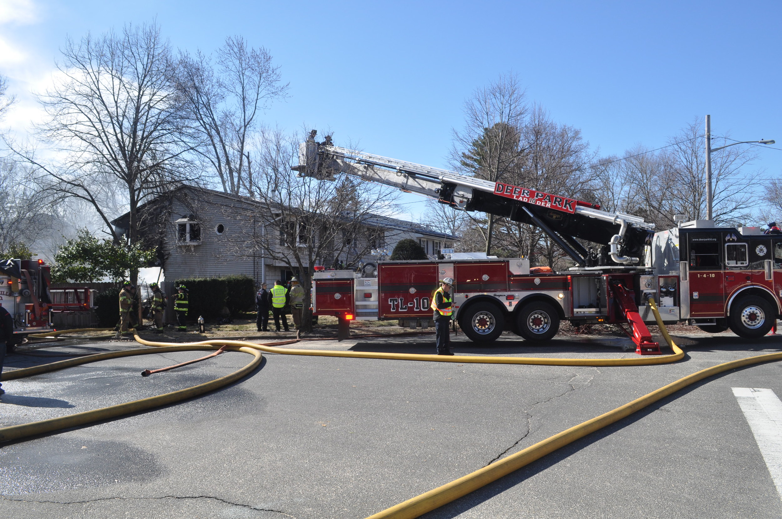 Fire gutted a home at 28 Seaman Neck Road in Dix Hills early Tuesday morning.