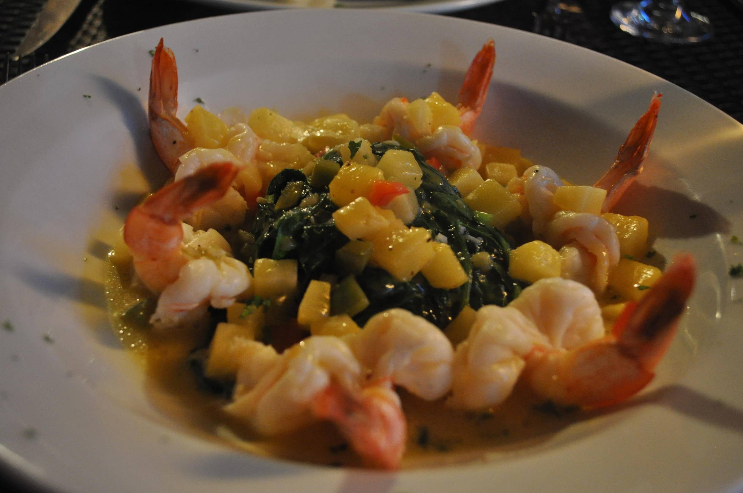 After the fire fades, diners are left with Morales's tasty orange tequila shrimp.