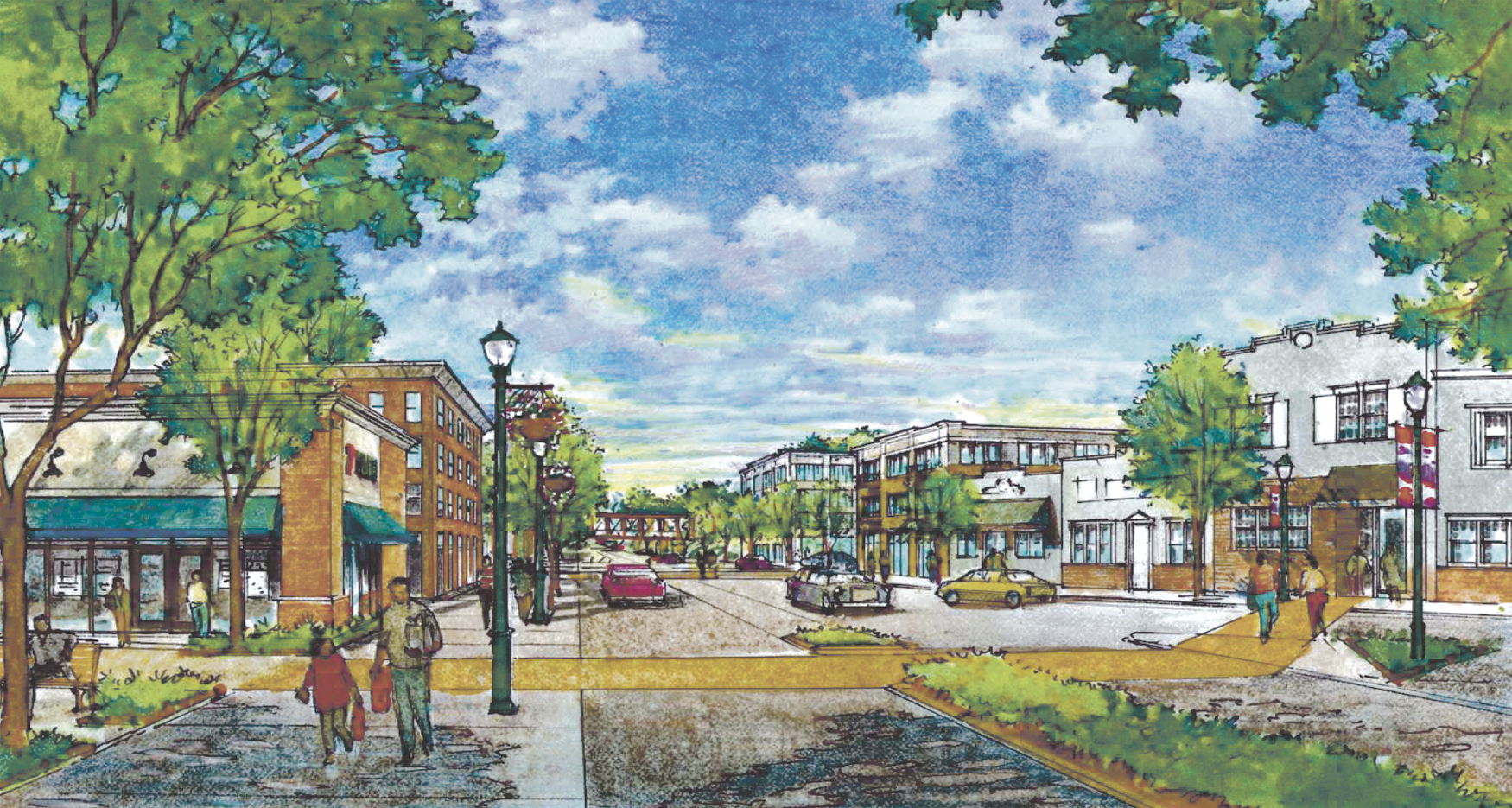 Initial Huntington Station revitalization projects proposed by Renaissance Downtowns, pictured here in a rendering, went before the Huntington Town Board Tuesday.