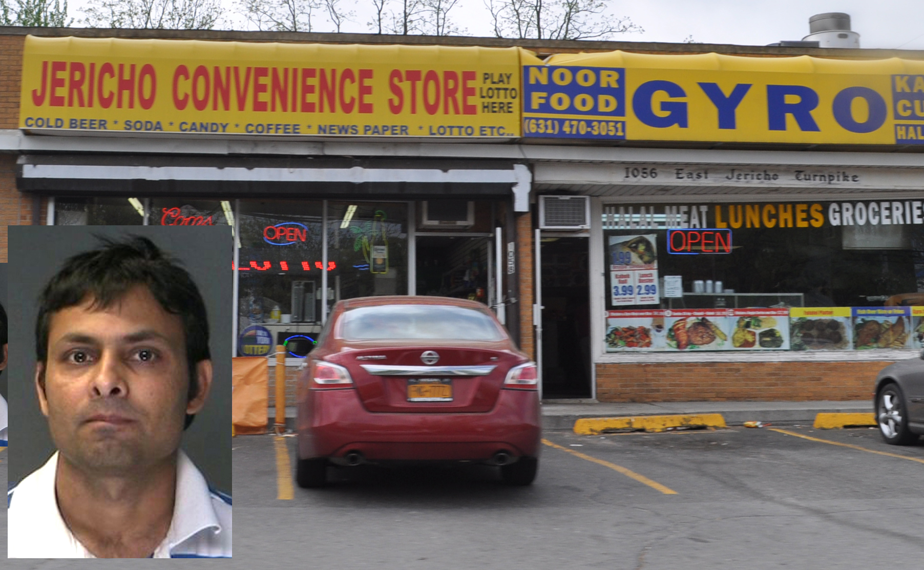 Bitinkunar Patel, inset, is accused of making a lewd offer to an 11-year-old boy who came into the Jericho Convenience store Saturday.
