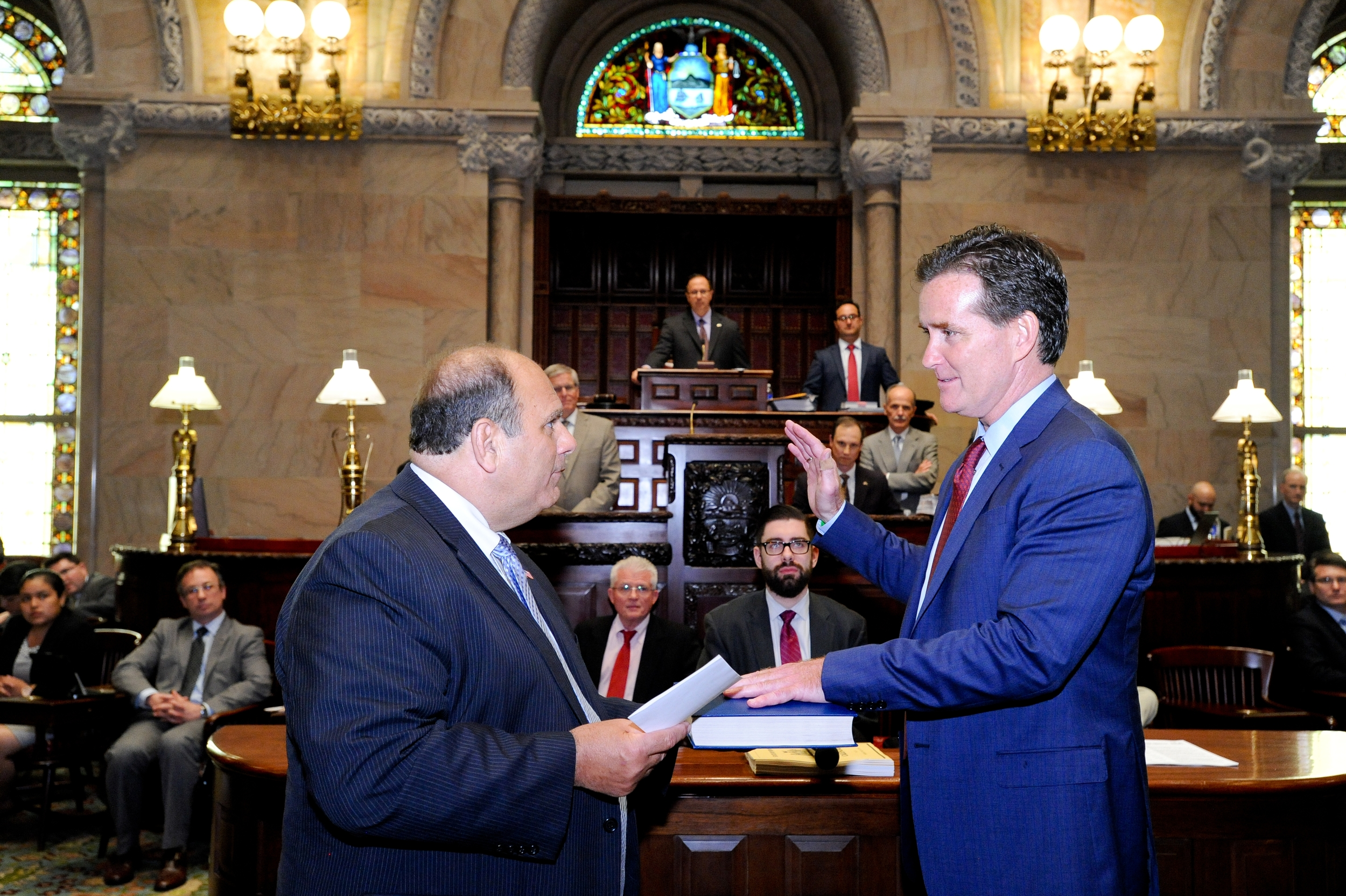 East Northport's John Flanagan is sworn in as the State Senate's new majority leader on Monday.