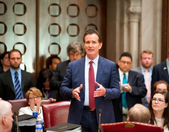 New Majority Leader John Flanagan speaks on the floor of the State Senate.