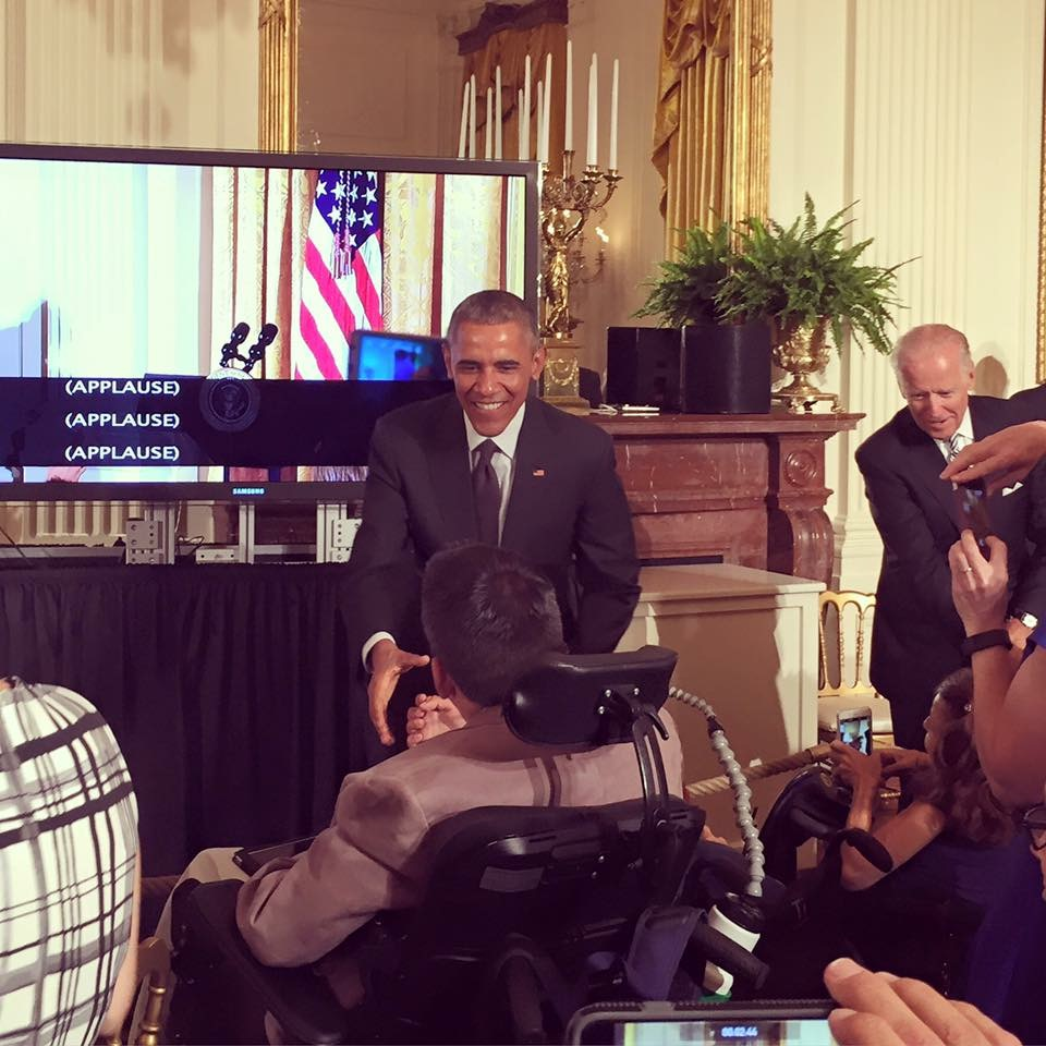 Northport native Tim Dunne met President Barack Obama on July 20 at a ceremony celebrating the 25th anniversary of the signing of the Americans with Disabilities Act.