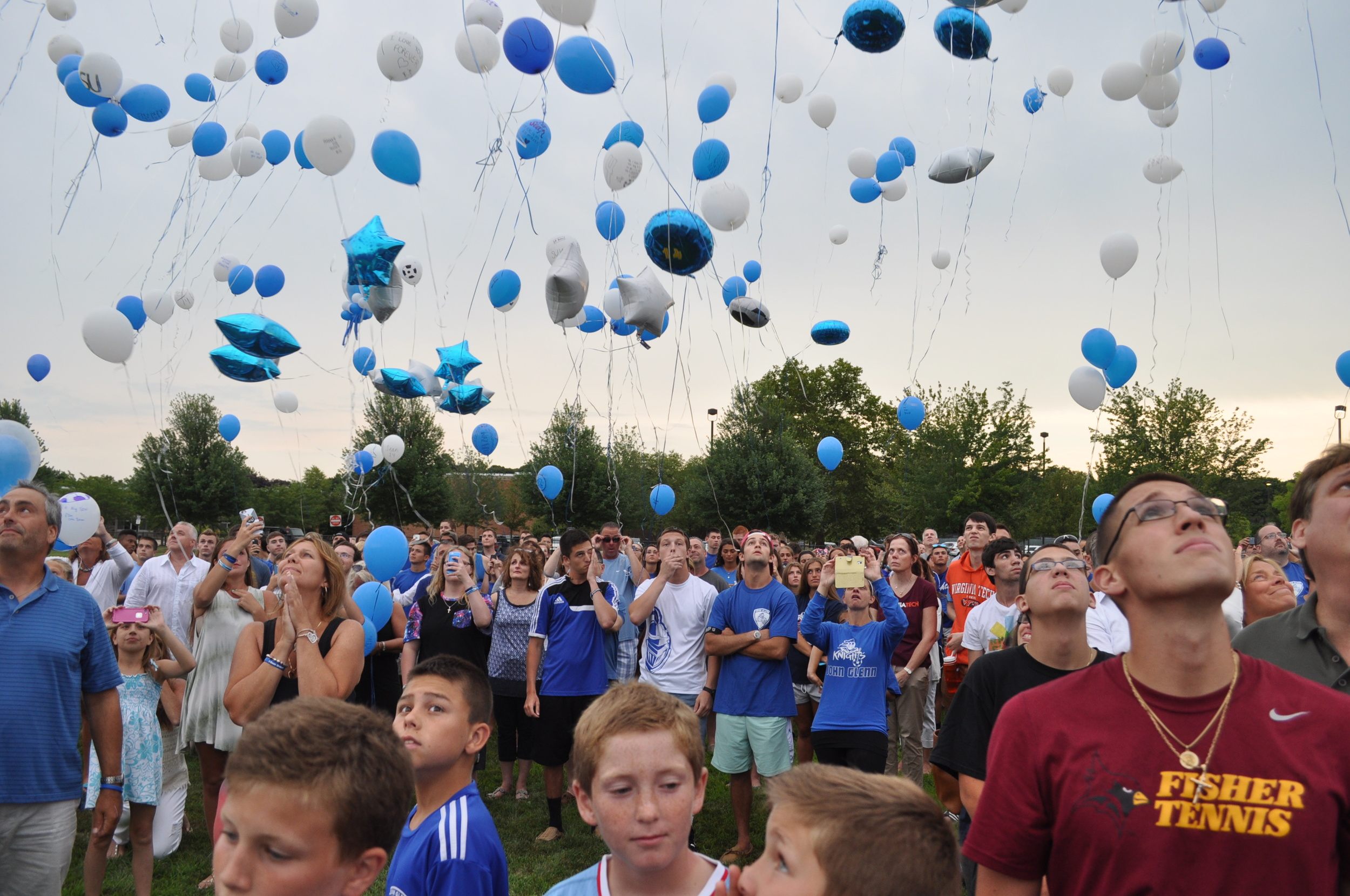 Hundreds release balloons to the heavens Sunday as part of a six-month memorial service to Elwood's Sean Urda, who died in a snow-tubing accident Jan. 26.