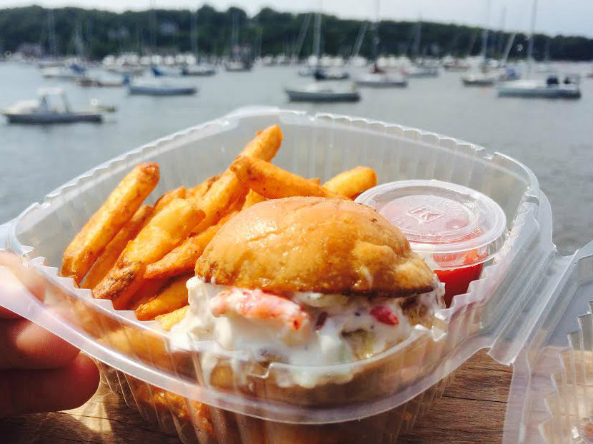 Want a mini lobster roll with a killer view? Grab one from The Stoop at Tutto Pazzo, walk across the street, take a seat on the dock and enjoy.