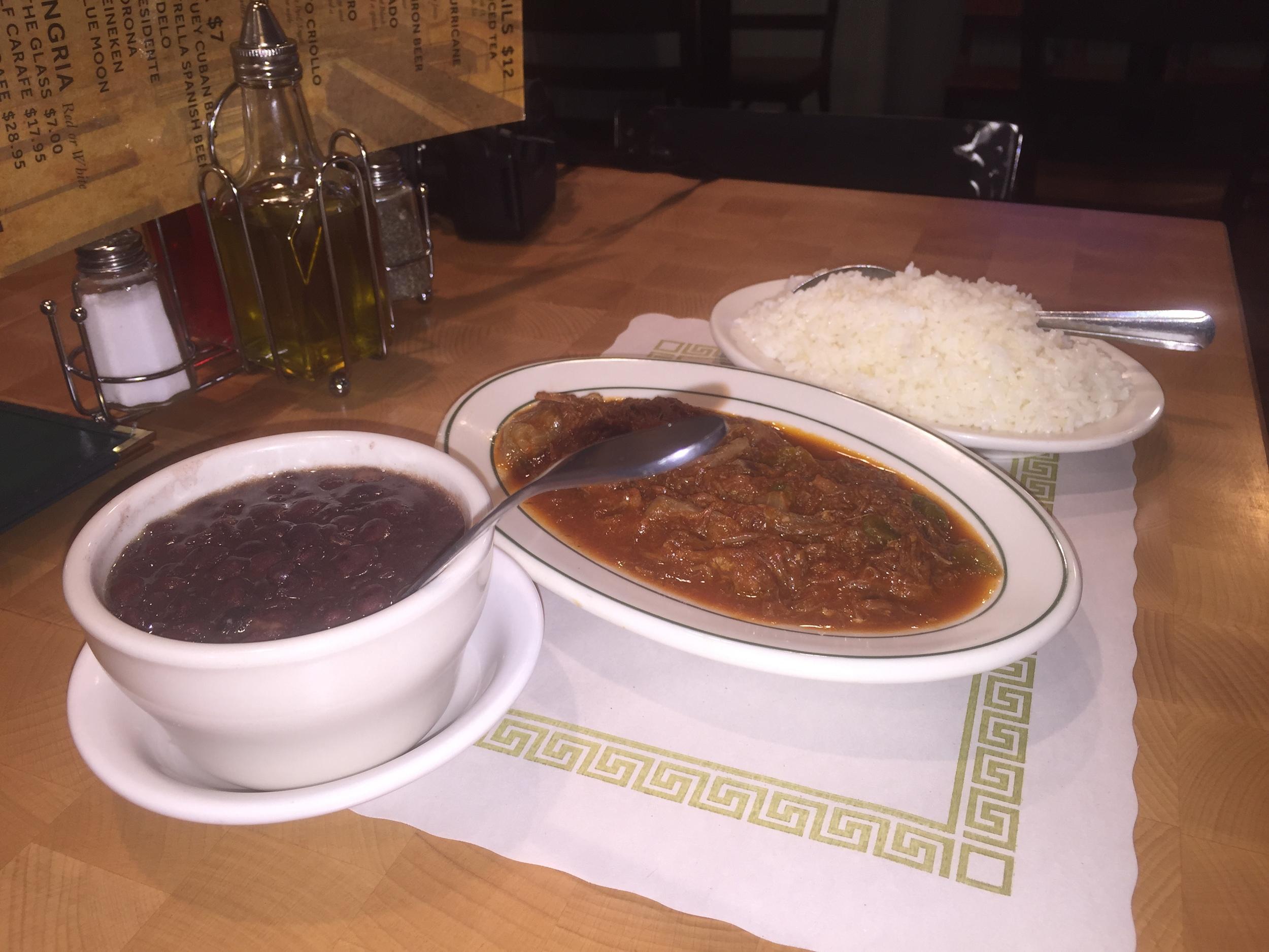 Rincon Criollo's signature dish: Ropa vieja, shredded flank steak in tomato sauce.