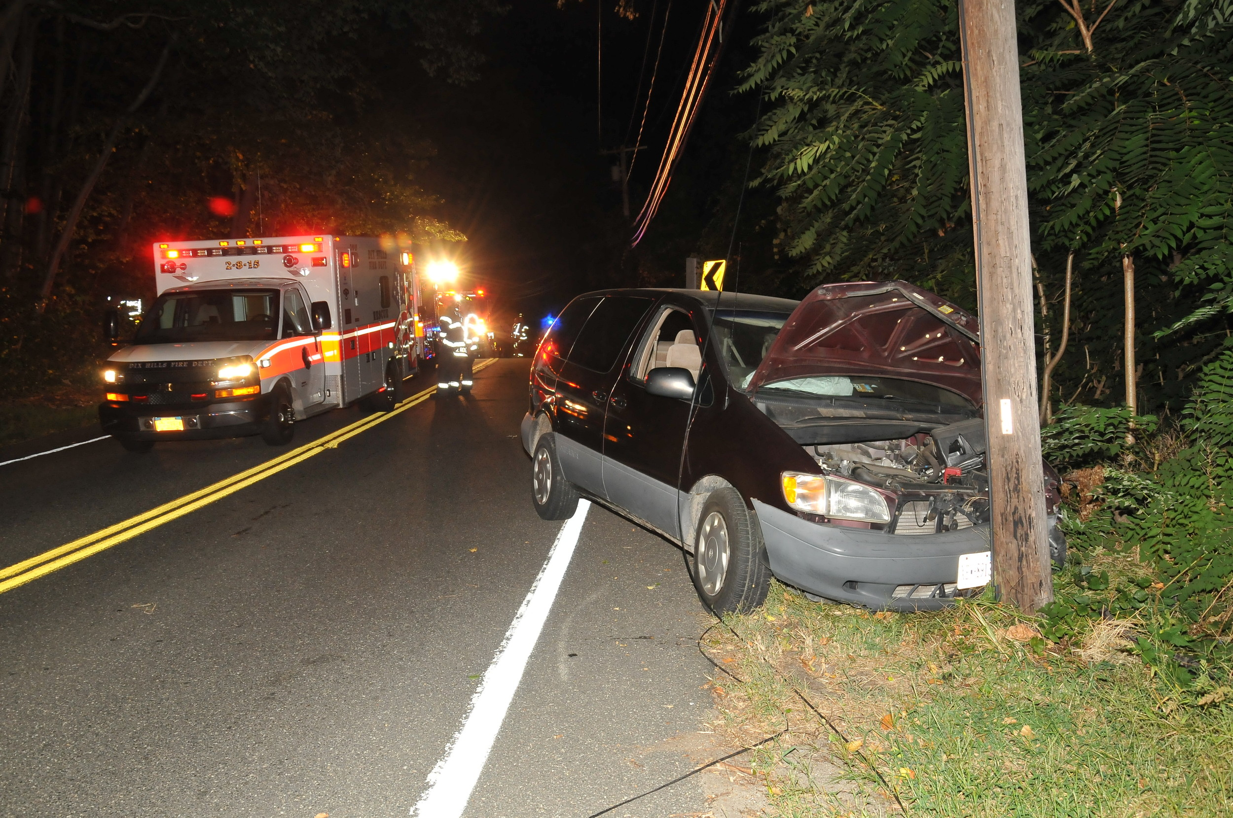 Bernabe Ortegavela, of Brentwood, was driving drunk when his 2000 Toyota Sienna collided with a Nissan Maxima and then crashed into a utility pole on Vanderbilt Parkway in Dix Hills on Sept. 8, 2015, Suffolk police said.Photo by Steve Silverman