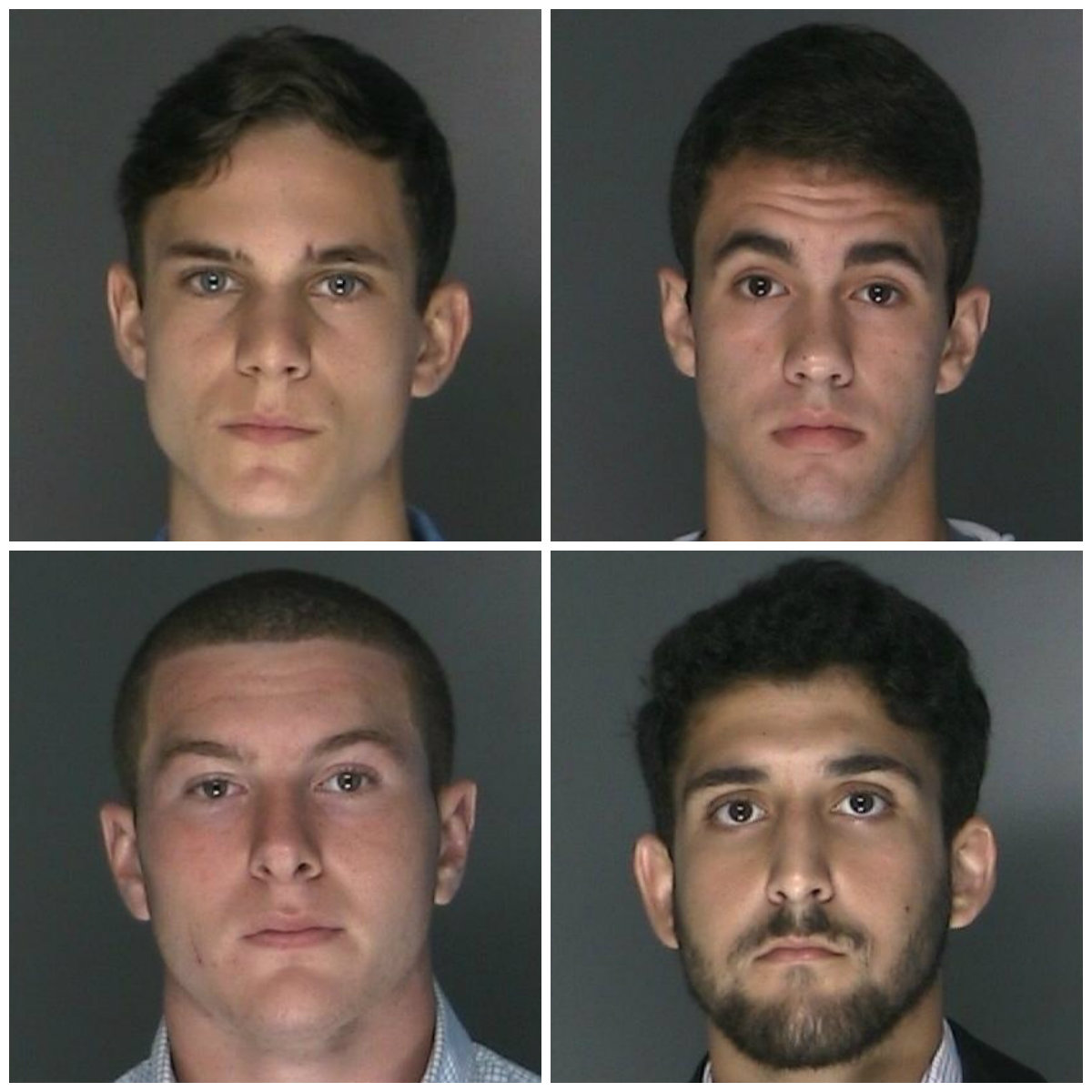 From top left: John Glenn High School students Nicholas Collins, of Greenlawn, Julius Dimino, of East Northport, Eric Lamay, of Greenlawn, and Michael Plackis, of East Northport. They were arrested for driving onto the Northport Soccer Complex soccer fields earlier in the month and causing $10,000 in damage.