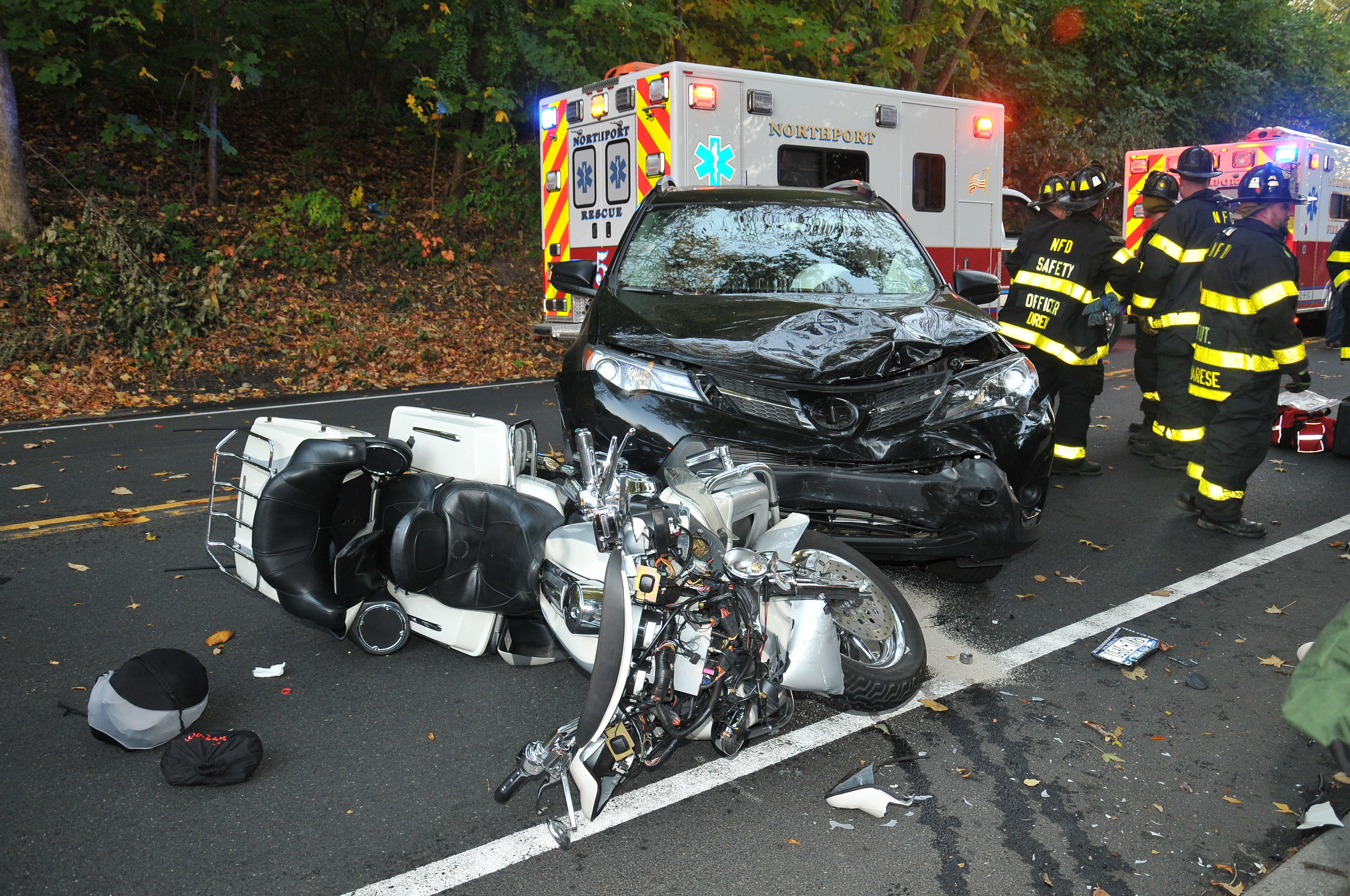 A Floral Park woman was killed in a crash Sunday after she was ejected from the rear of a motorcycle that collided with a car pulling into a driveway on Fort Salonga Road in Northport, Suffolk police said. (Photo / Steve Silverman)