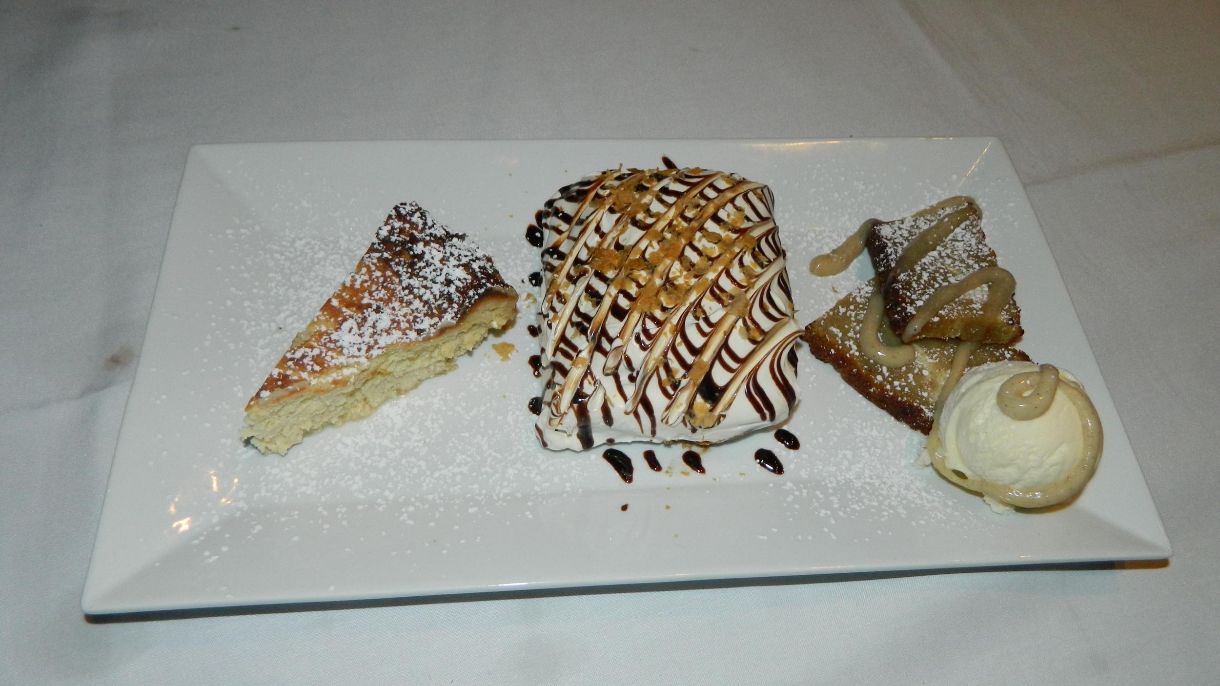 Italian cheesecake, Napoleon and banana bred pudding with vanilla ice cream.