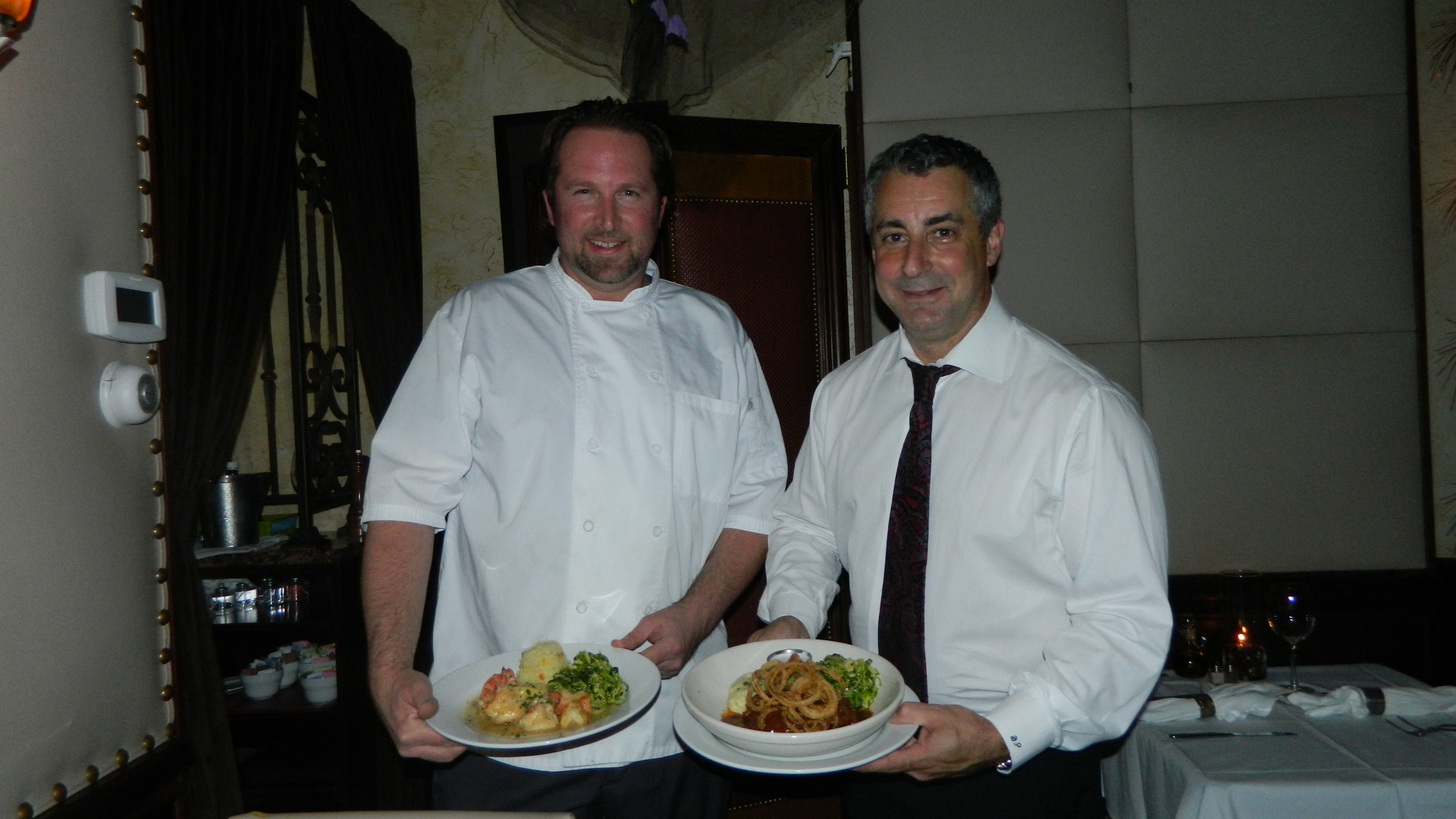 Chef Andrew Crabtree and owner Dean   Philippis   of Piccolo Restaurant in Huntington present shrimp scampi and braised boneless beef short ribs.