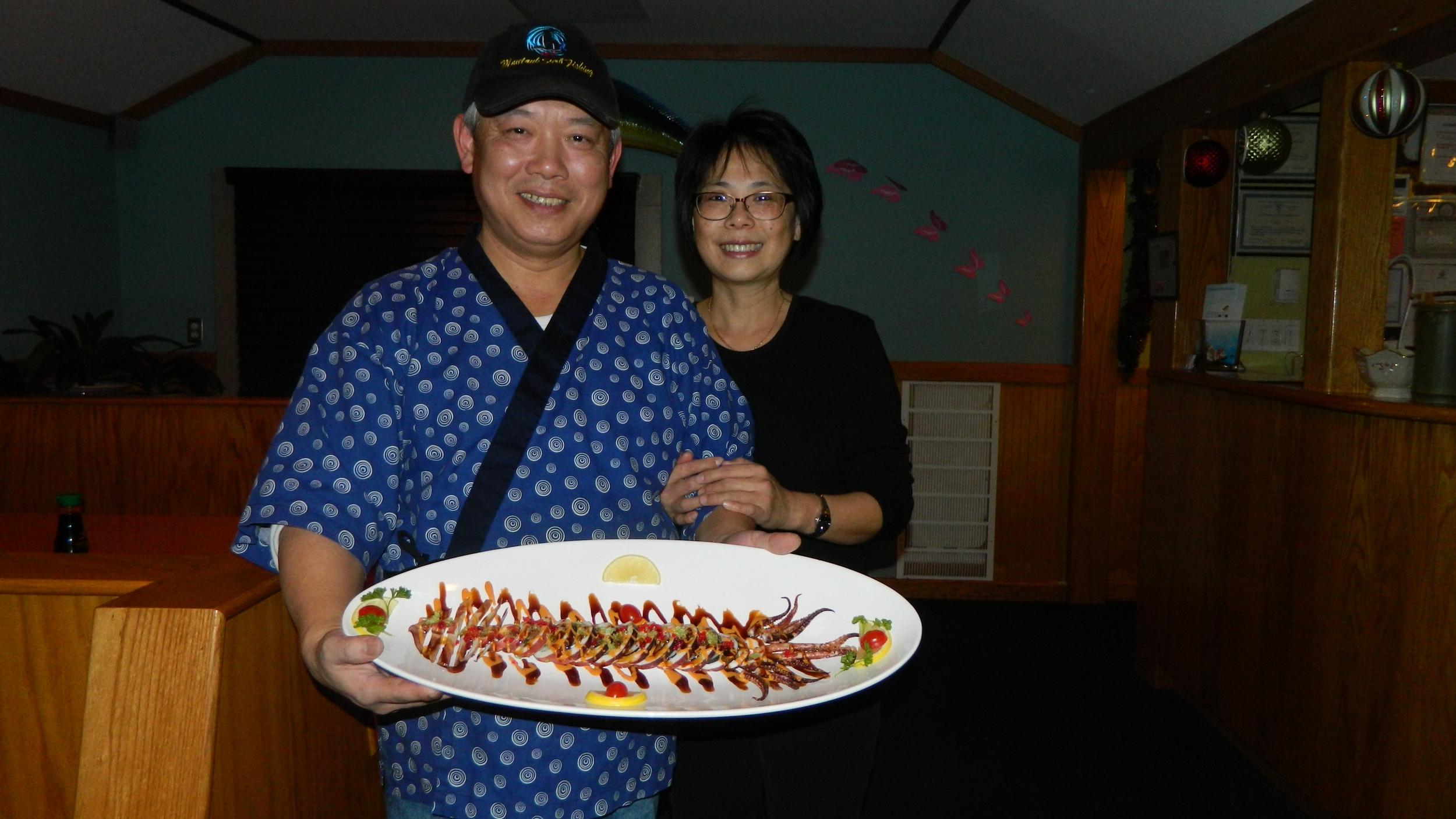 Owners Chef David Cheng and Patty Li present Ika Maru squid.