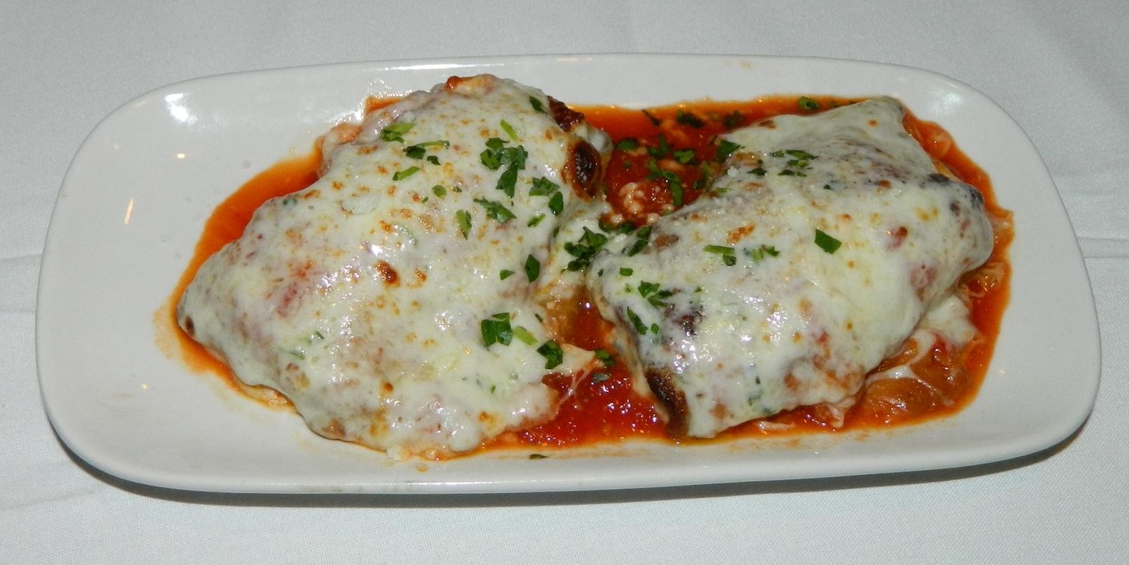 Pictured: Piccolo Mondo's eggplant rollatini.