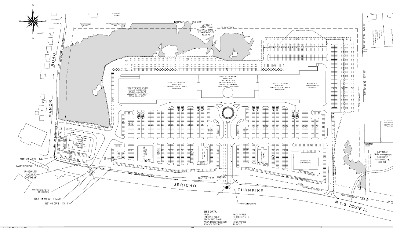 The site plan of the proposed 486,000-square-foot Elwood Orchard mall on Jericho Turnpike.