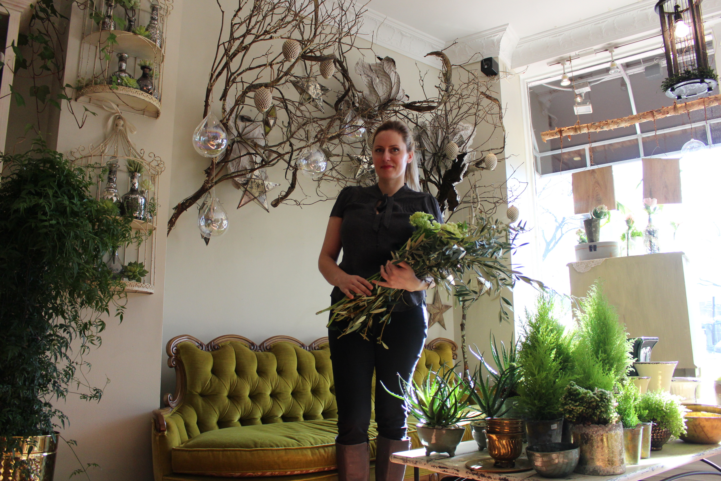 Akvile Zilinskis, owner of Floras Avenue in Huntington, provides and organic-vintage style to her European flower boutique, focusing on detail and stylish color schemes with each arrangement.
