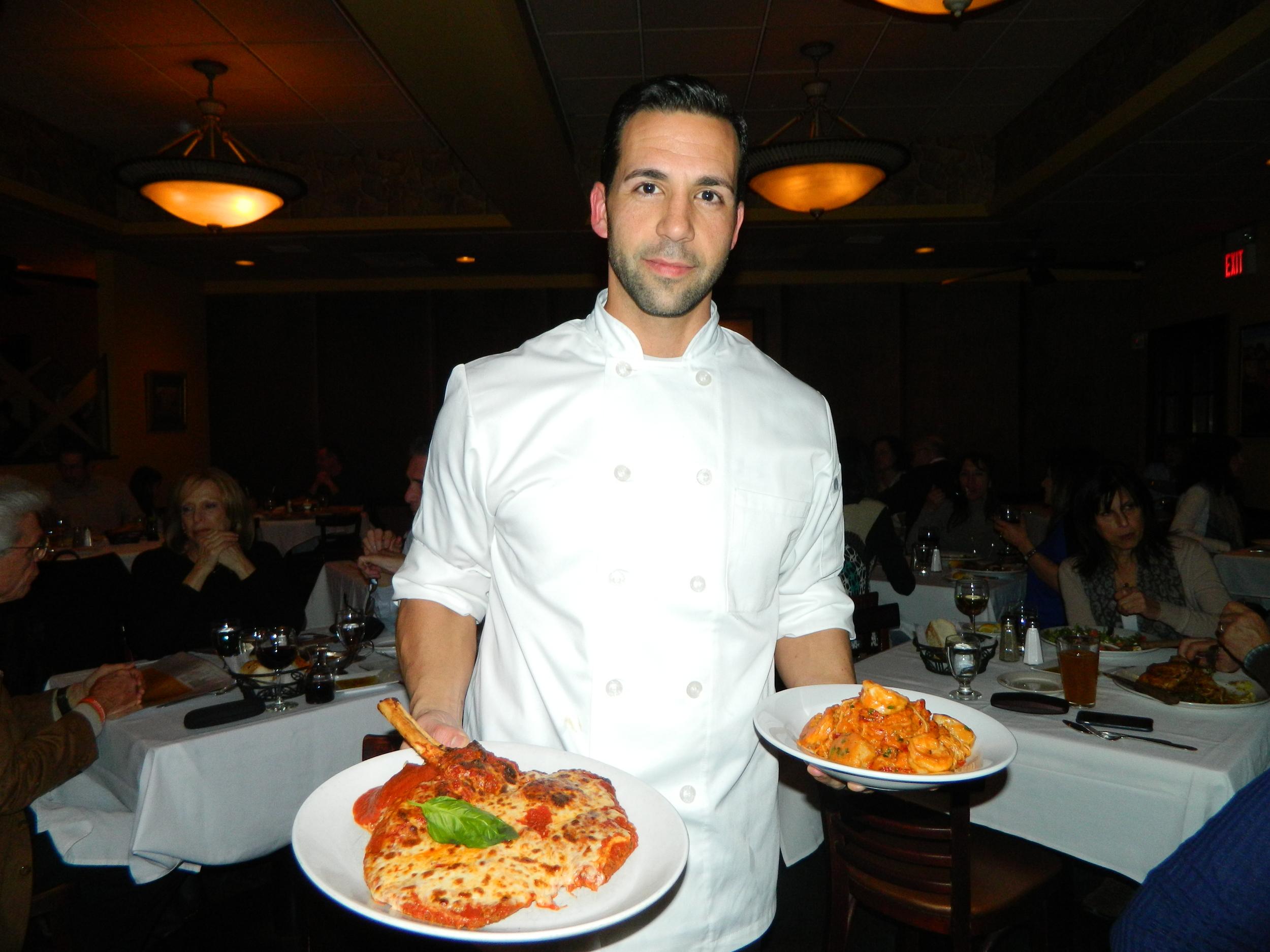 Cirella's Executive Chef Anthony Trobiano presents eggplant parmigiana and Capellini Pescatore entrees.