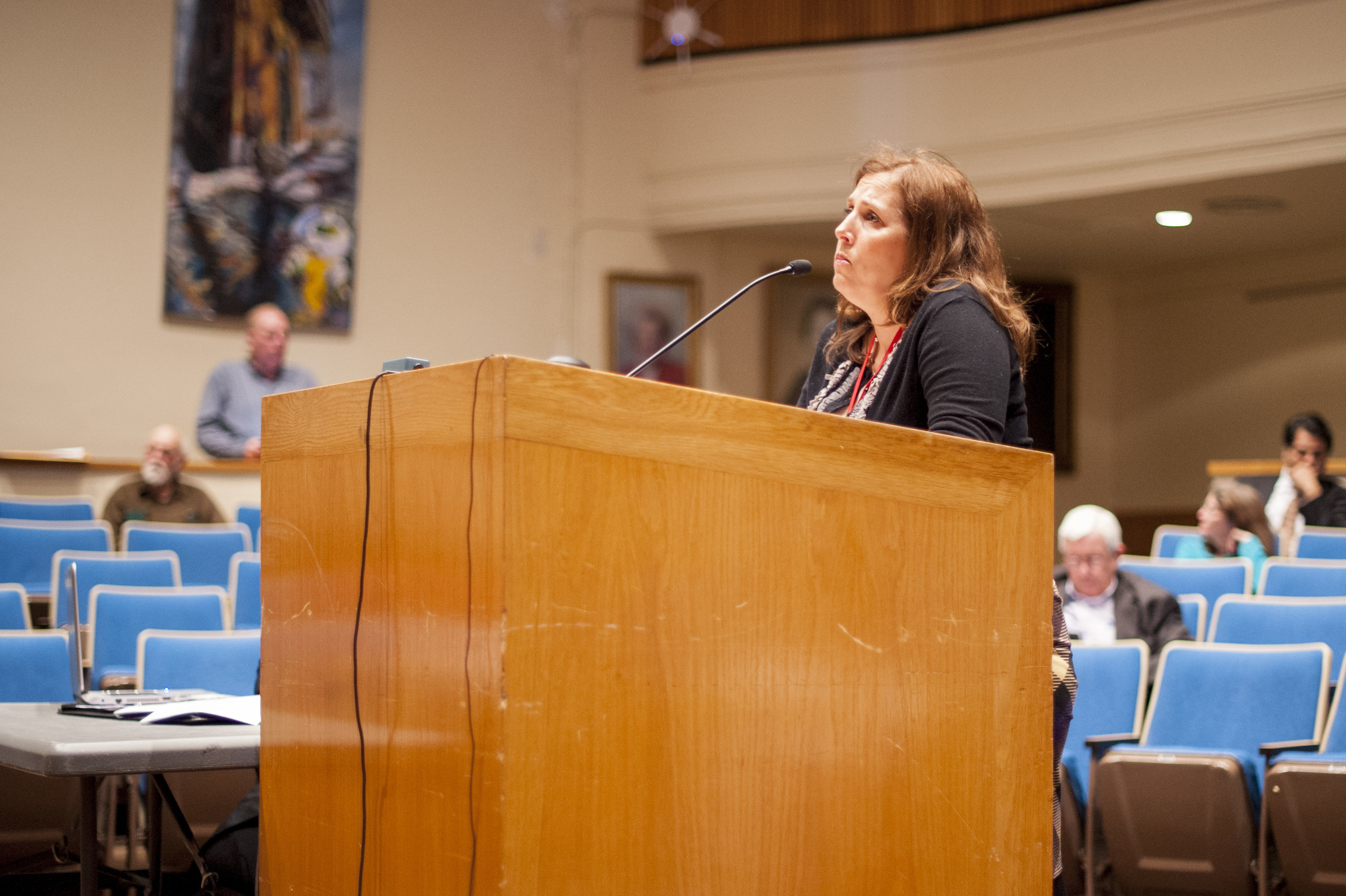 Deborah Weiss, Elwood School District PTA president, speaks during Tuesday's Huntington Town Board meeting, taking issue with a New York State Court of Appeals ruling that has effectively dismantled local sex offender laws.