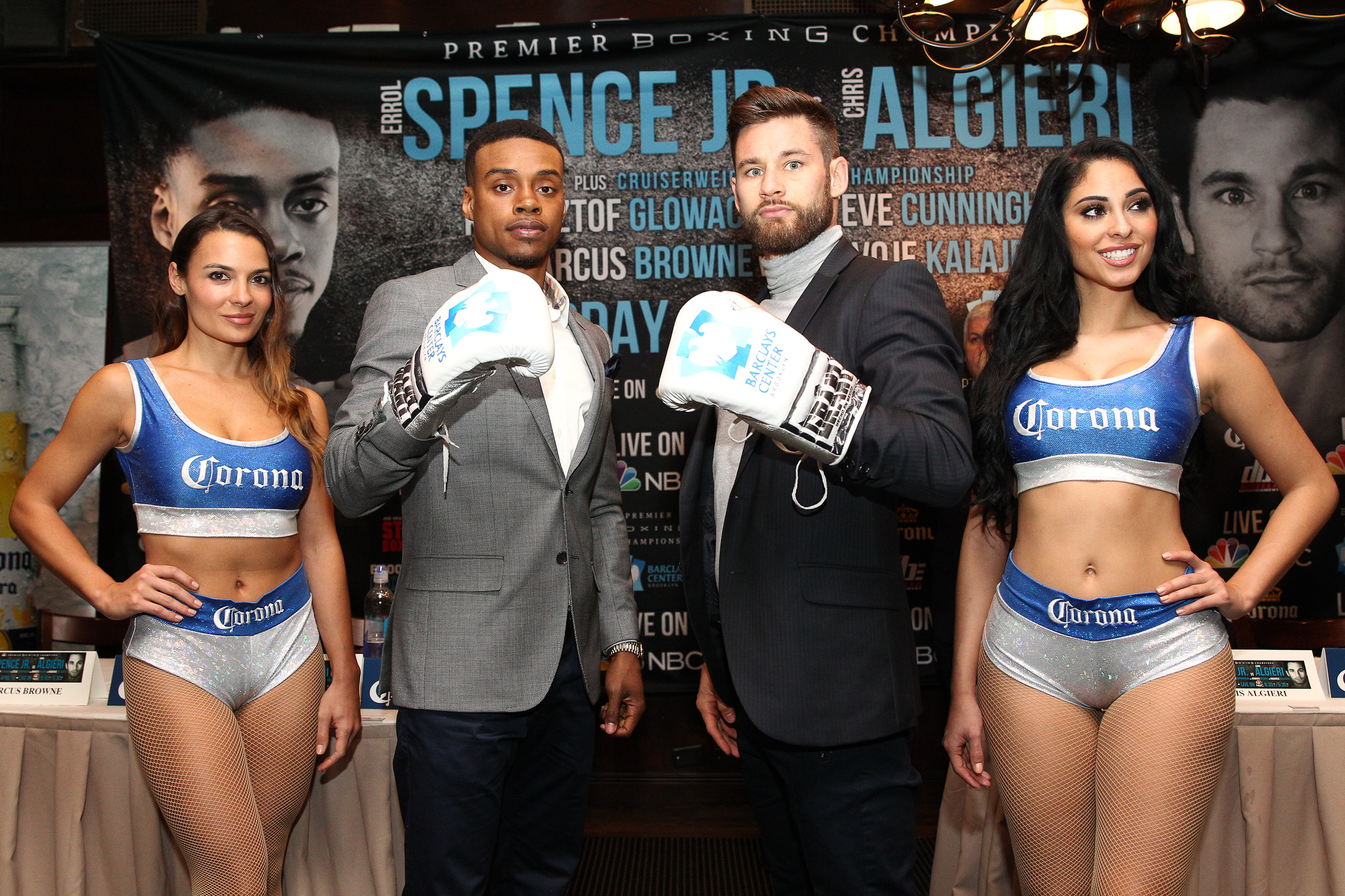 Greenlawn native Chris Algieri, right, will face off against up-and-coming boxing prospect Errol Spence Jr., left, this Saturday at the Barclays Center in Brooklyn.    Photo/Edward Diller/Premier Boxing Champions