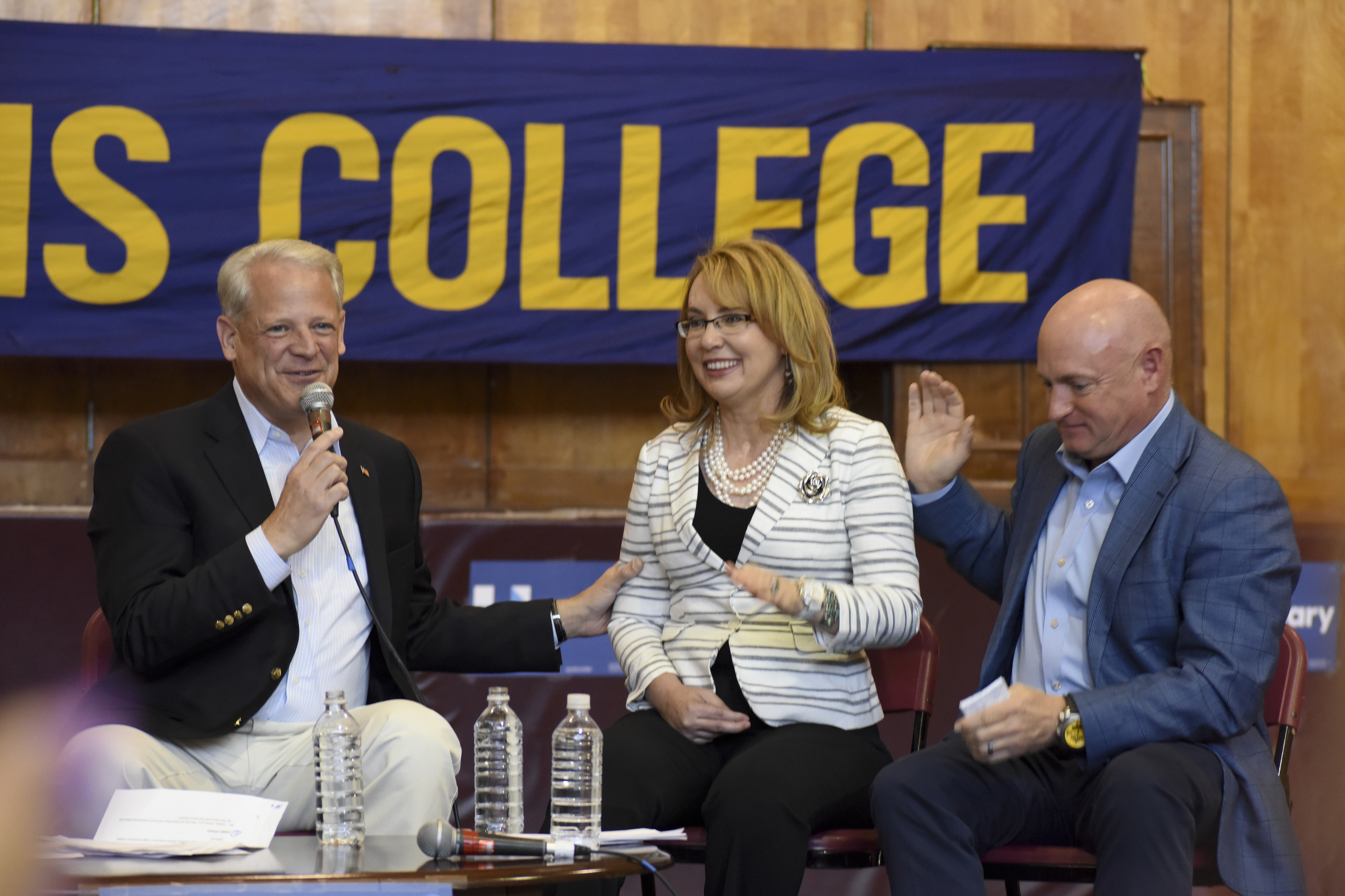 Rita Kestenbaum, Rep. Steve Israel, former Congresswoman Gabby Giffords and her husband, Mark Kelly, spoke in support of gun control at a campaign rally at Five Towns College in Dix Hills Sunday.