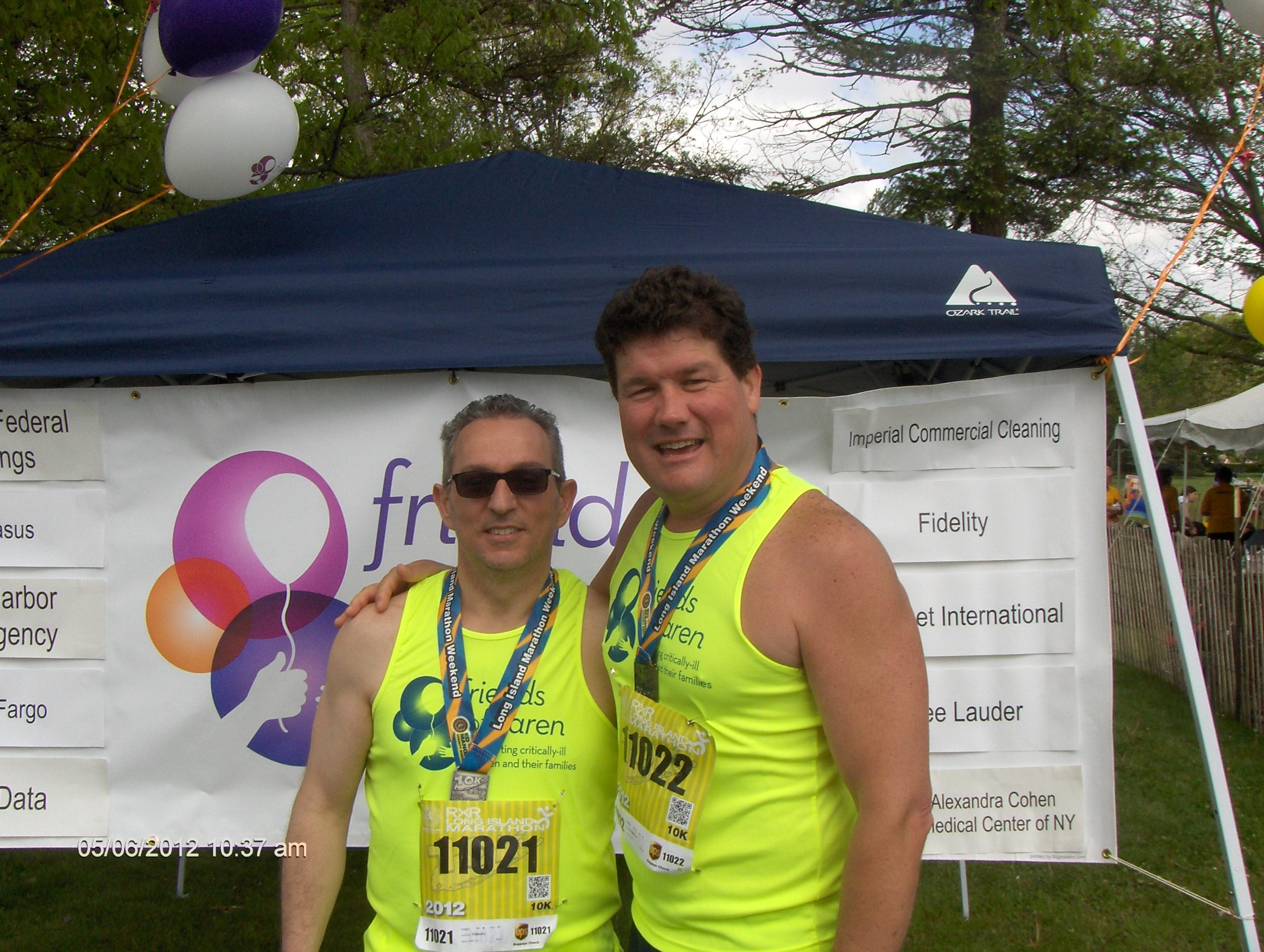 Steven Connolly, right, has been participating in the Friends of Karen annual walk-run for eight years, raising approximately $16,000 for the organization. Pictured with him is Anthony Tomaro, a partner at Grassi and Co. accounting firm.